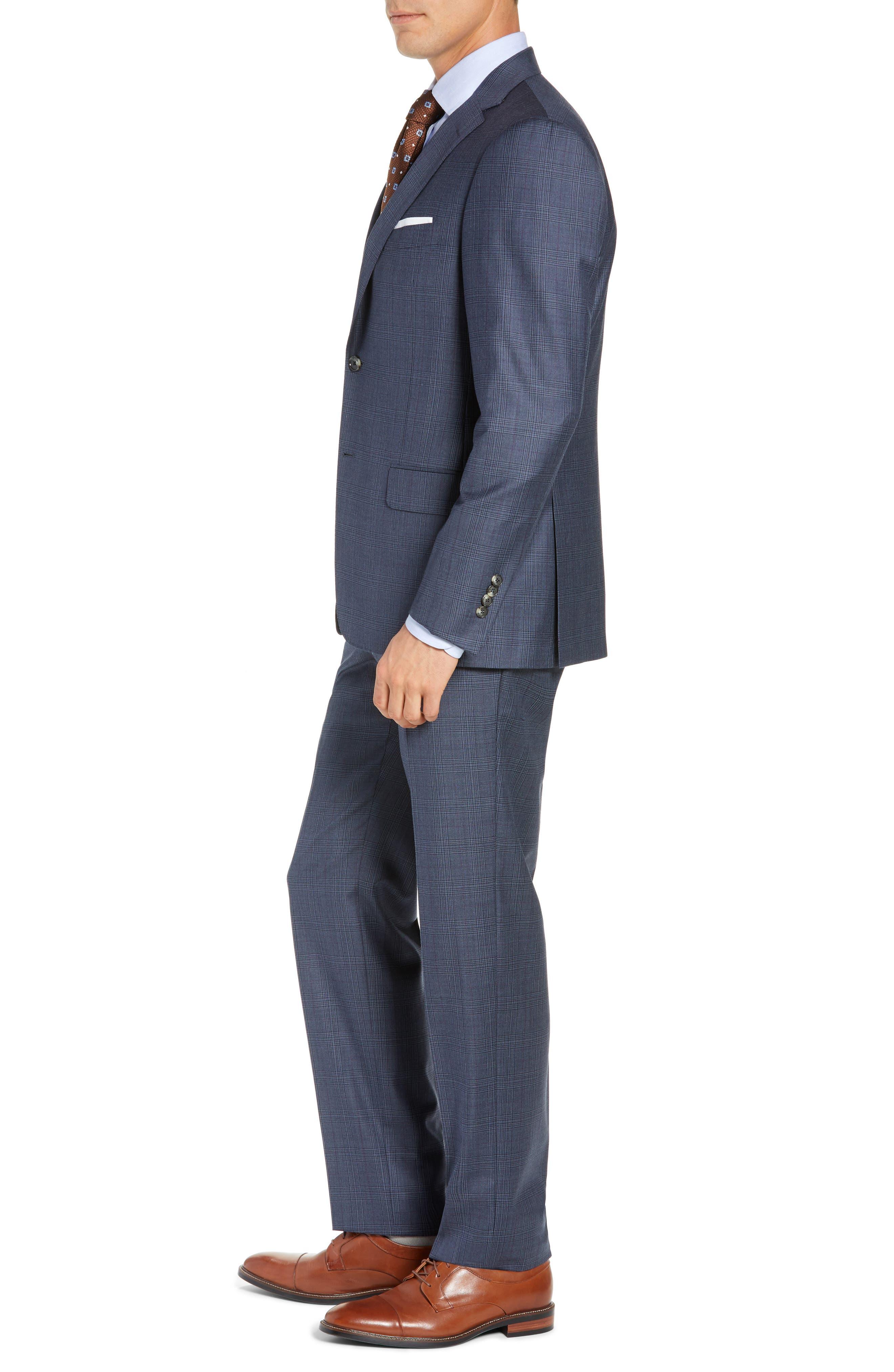Classic Fit Plaid Wool Suit,                             Alternate thumbnail 3, color,                             GREY