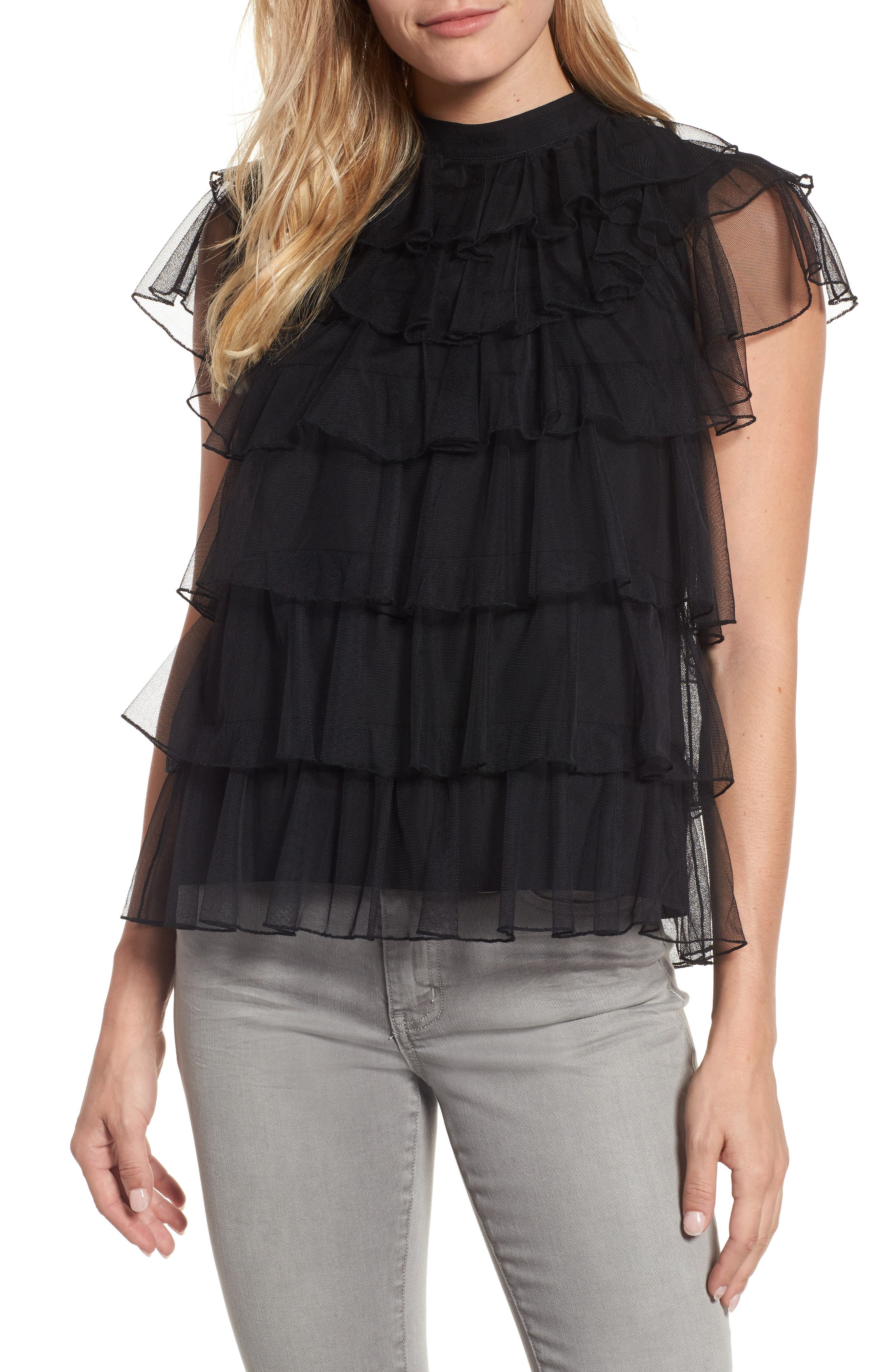 Tie Back Tiered Mesh Top,                         Main,                         color, 001