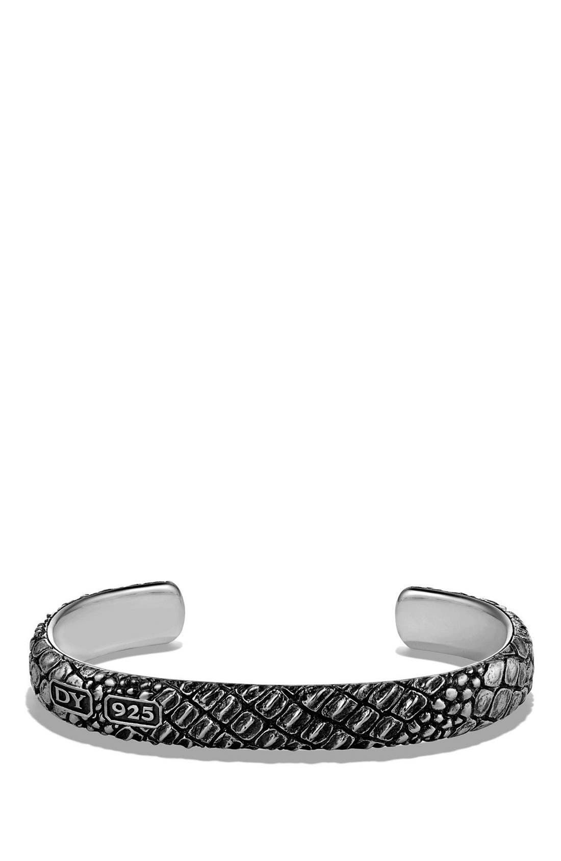 'Naturals' Gator Cuff Bracelet,                             Main thumbnail 1, color,                             SILVER
