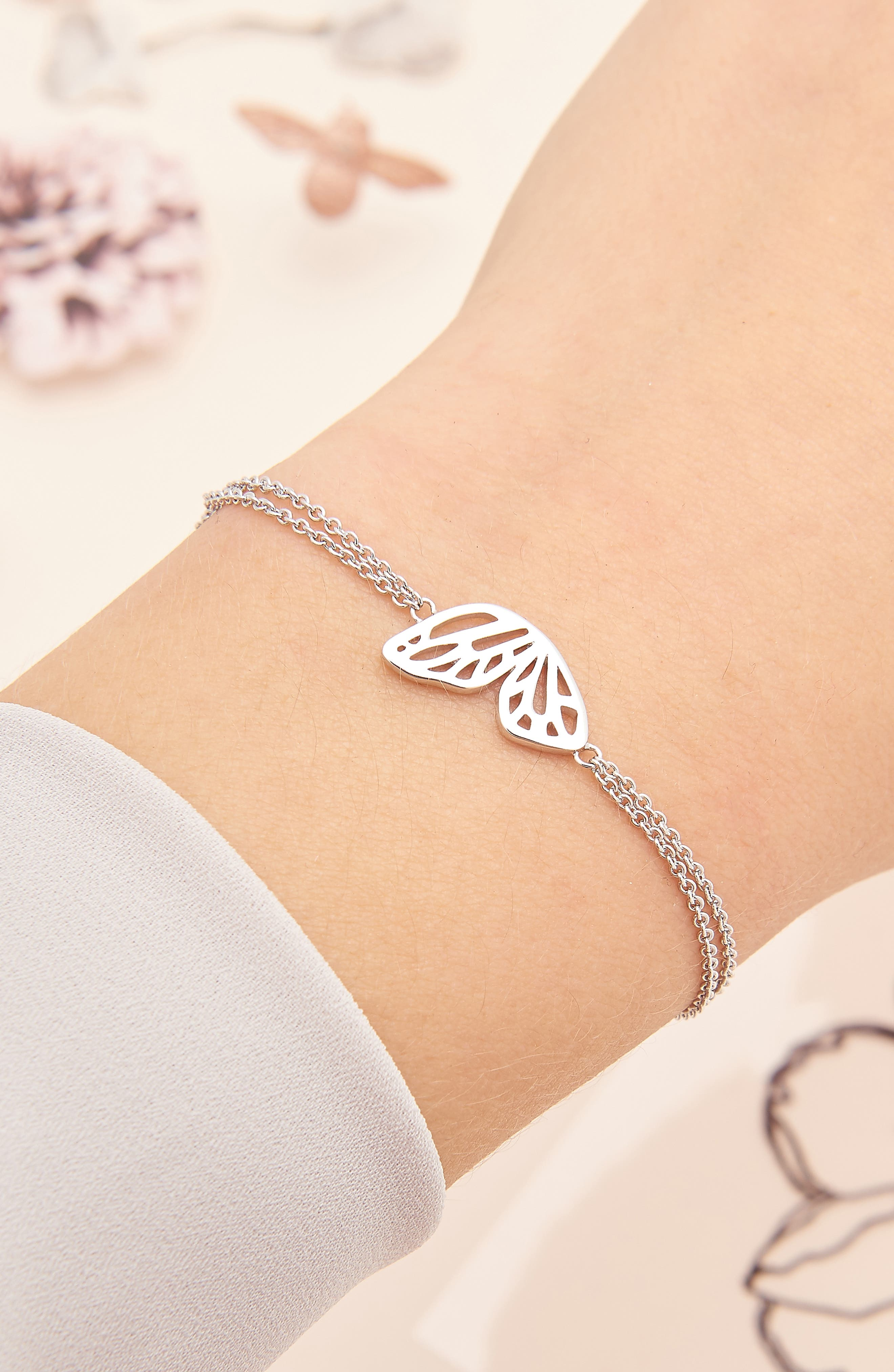 Butterfly Wing Bracelet,                             Alternate thumbnail 2, color,                             SILVER