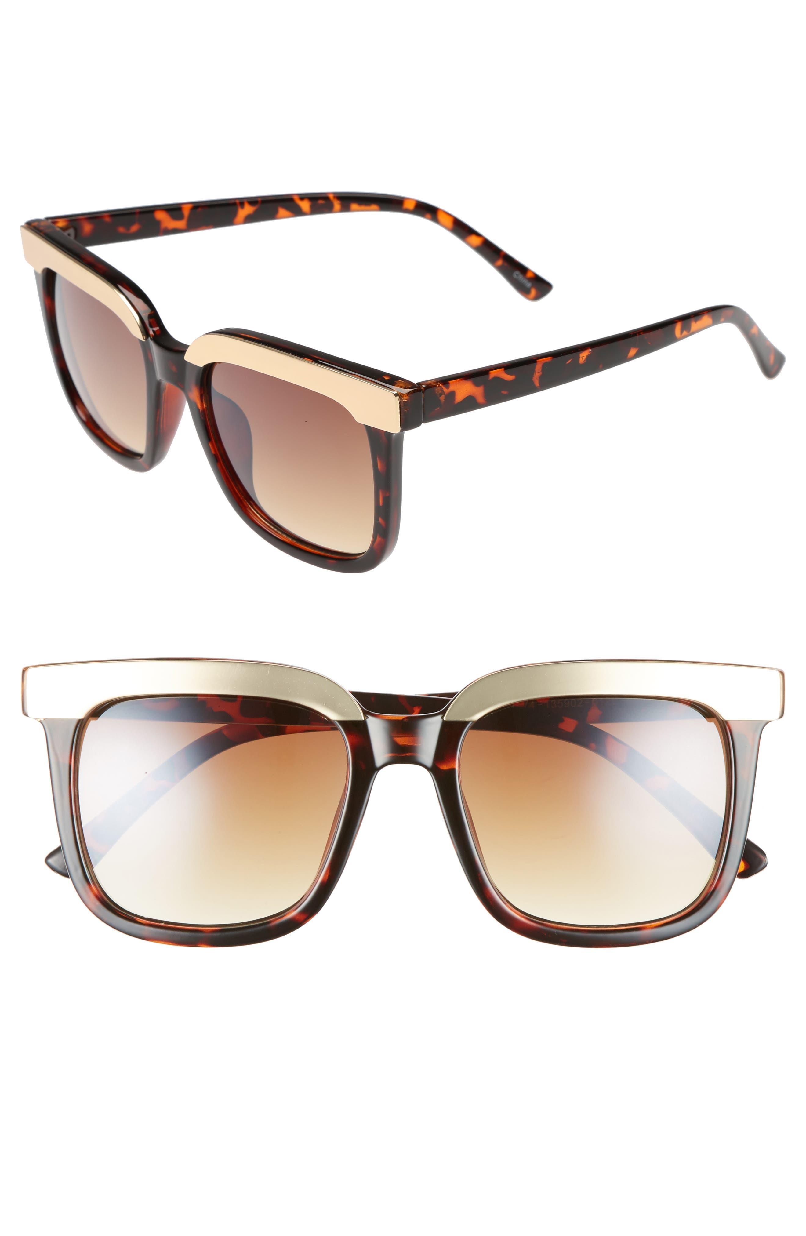 52mm Metal Dipped Square Sunglasses,                         Main,                         color, 200