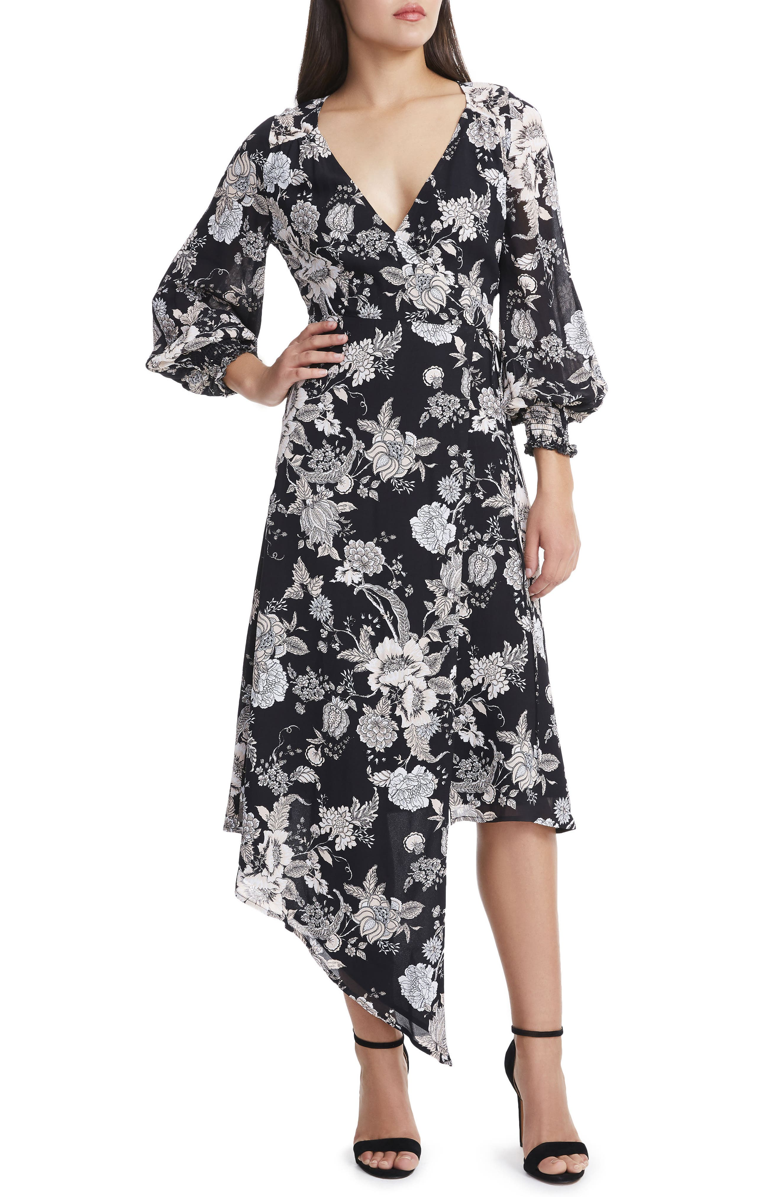 Amalfi Lantern Wrap Dress,                         Main,                         color, 001
