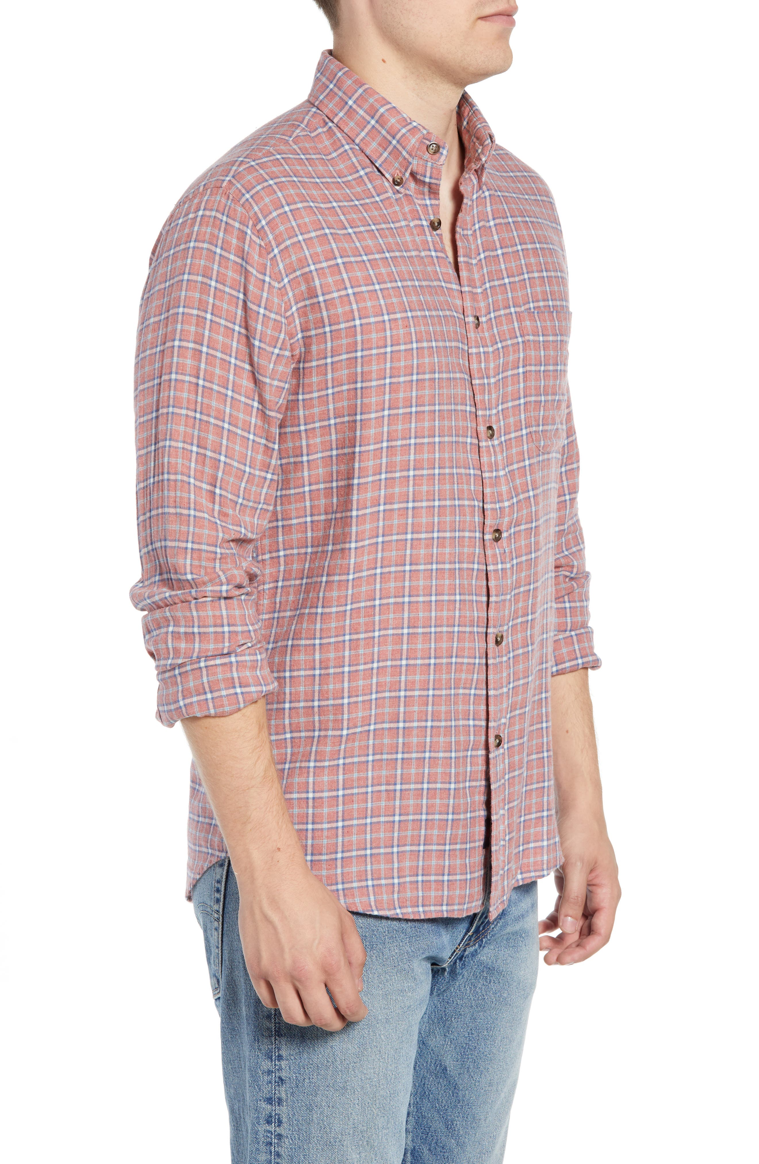 Pacific Check Organic Cotton Sport Shirt,                             Alternate thumbnail 4, color,                             HEATHER RED MULTI