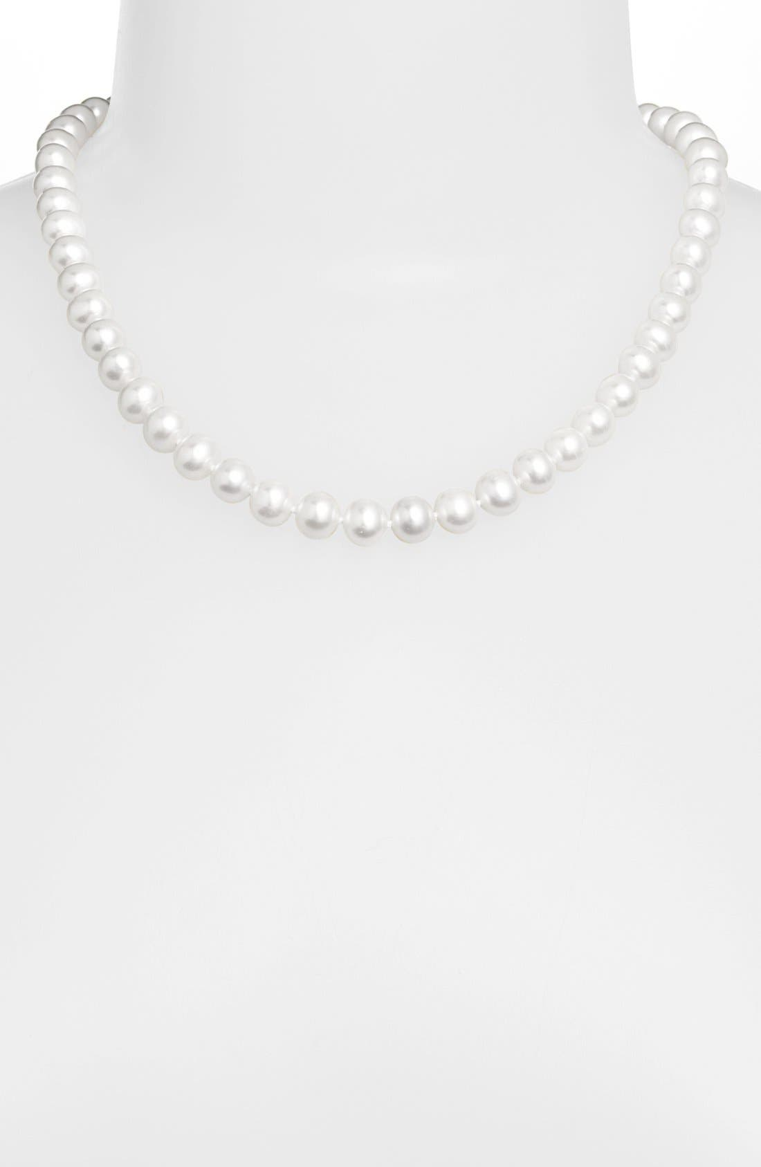 LAGOS,                             'Luna' 10mm Pearl Necklace,                             Alternate thumbnail 2, color,                             SILVER/ PEARL