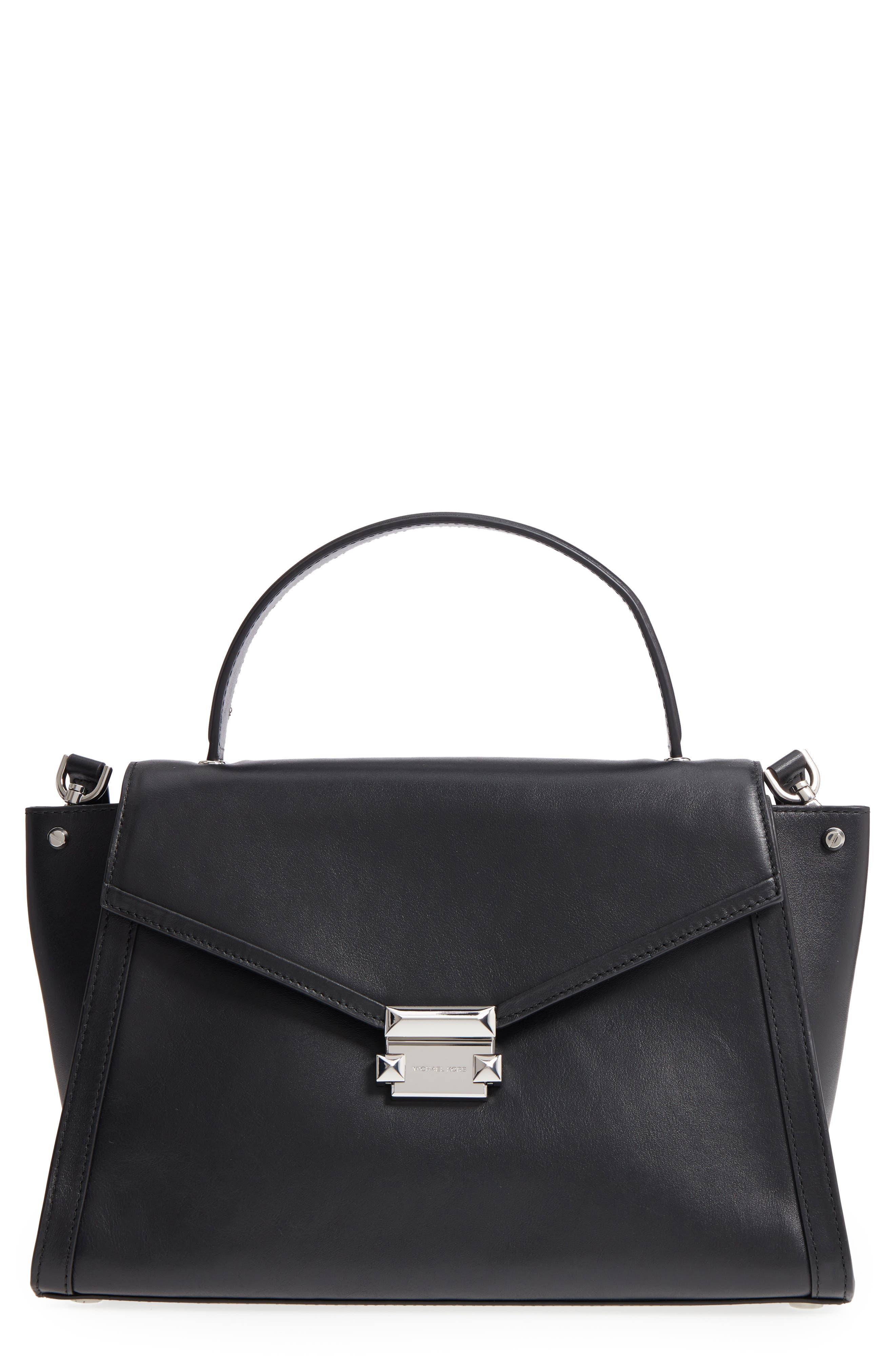 Large Whitney Leather Satchel,                         Main,                         color, BLACK