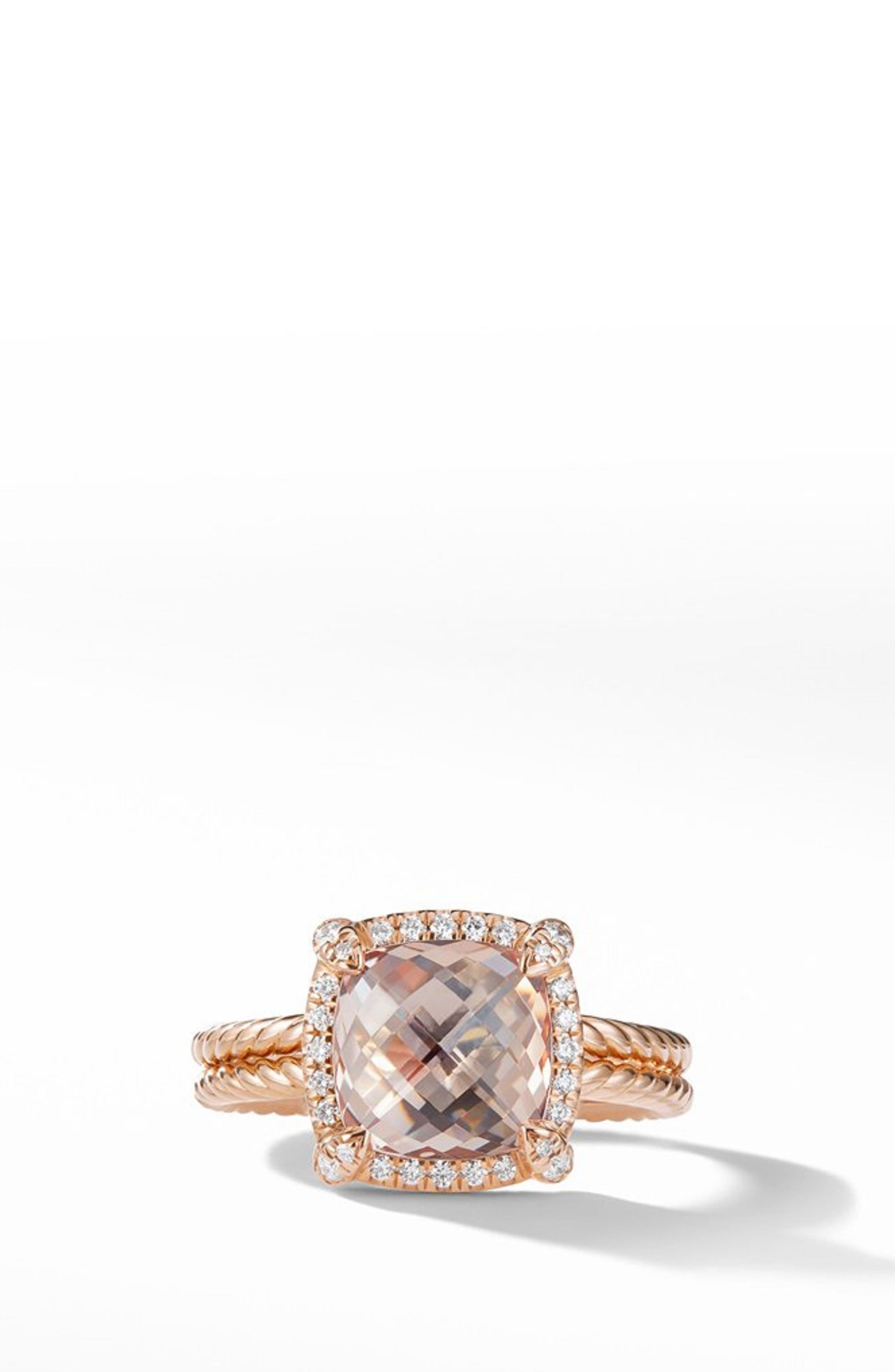 Chatelaine<sup>®</sup> Pavé Bezel Ring in 18K Rose Gold,                             Alternate thumbnail 3, color,                             ROSE GOLD/ DIAMOND/ MORGANITE