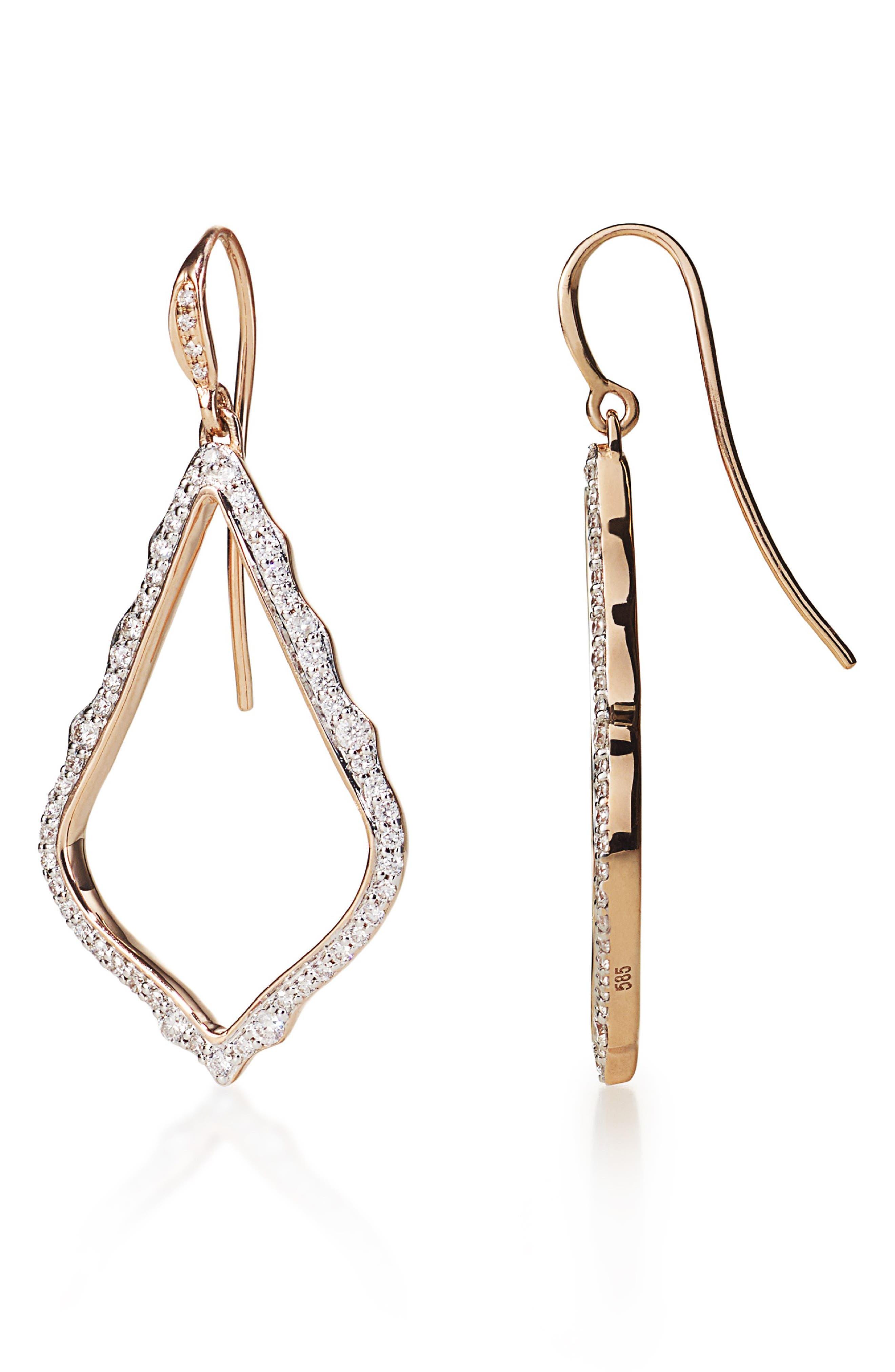 KENDRA SCOTT,                             Sophia Diamond & Rose Gold Drop Earrings,                             Alternate thumbnail 2, color,                             14K RSG WHITE DIAMOND