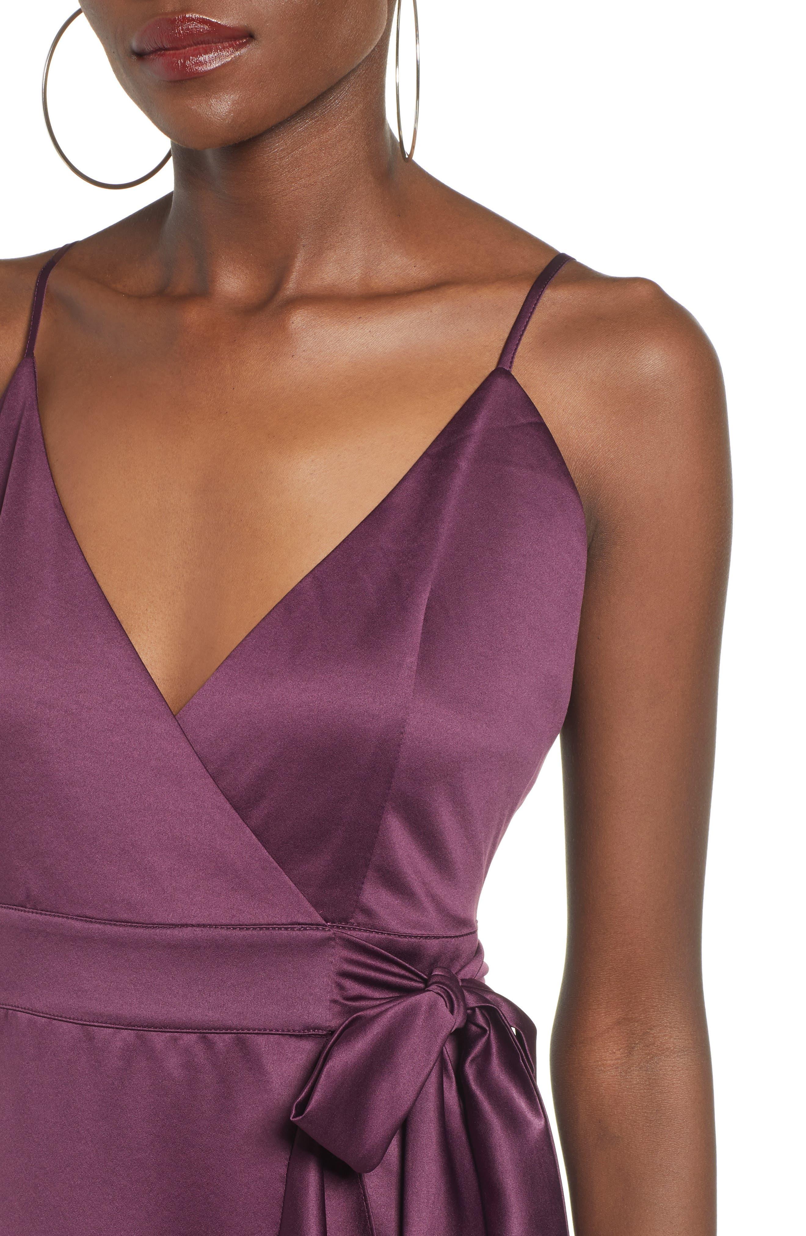 BAND OF GYPSIES,                             Payton Ruffled High/Low Dress,                             Alternate thumbnail 4, color,                             PLUM