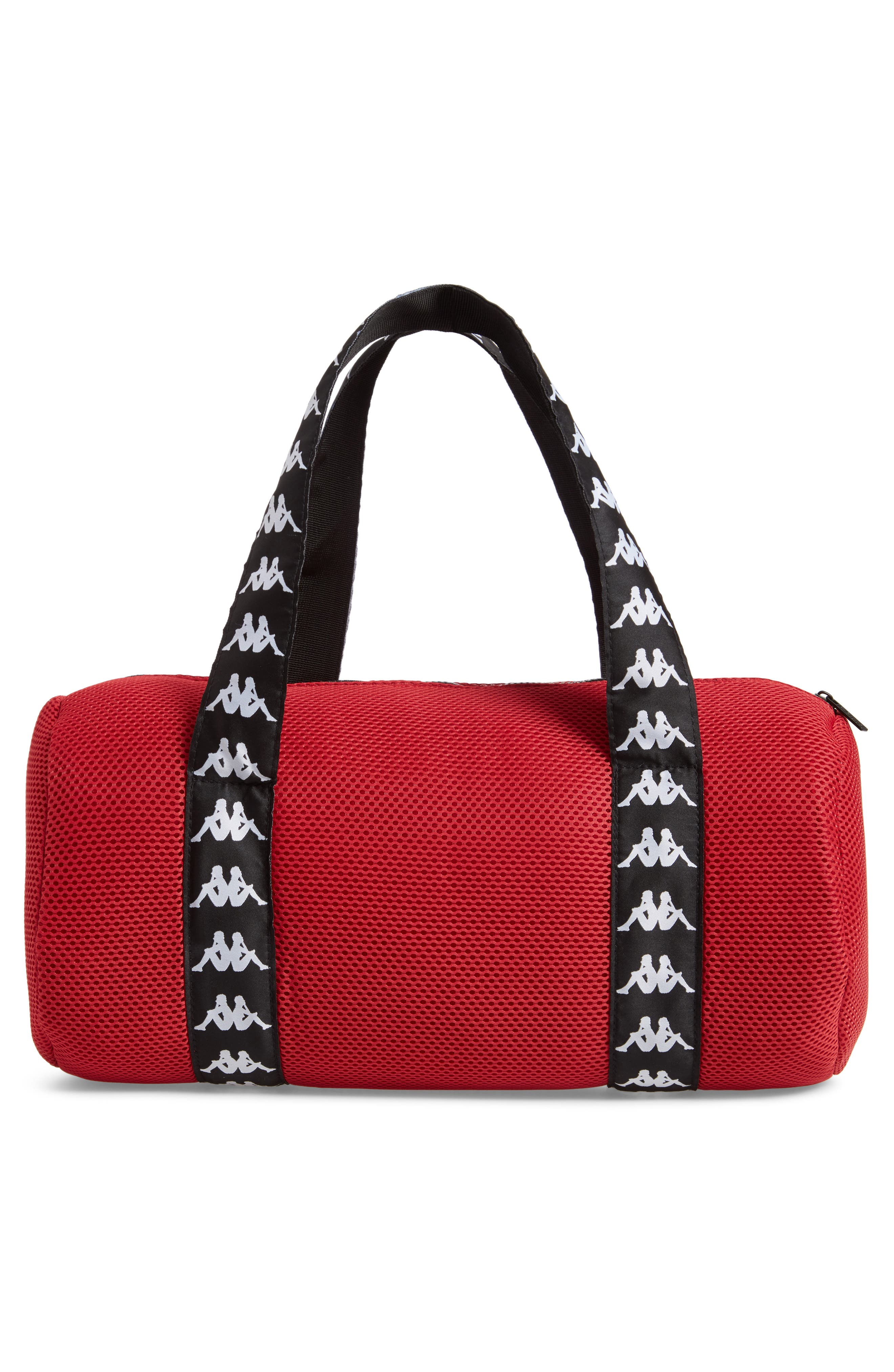 Large Mesh Athletic Duffel Bag,                             Alternate thumbnail 3, color,                             RED DK-BLACK-WHITE