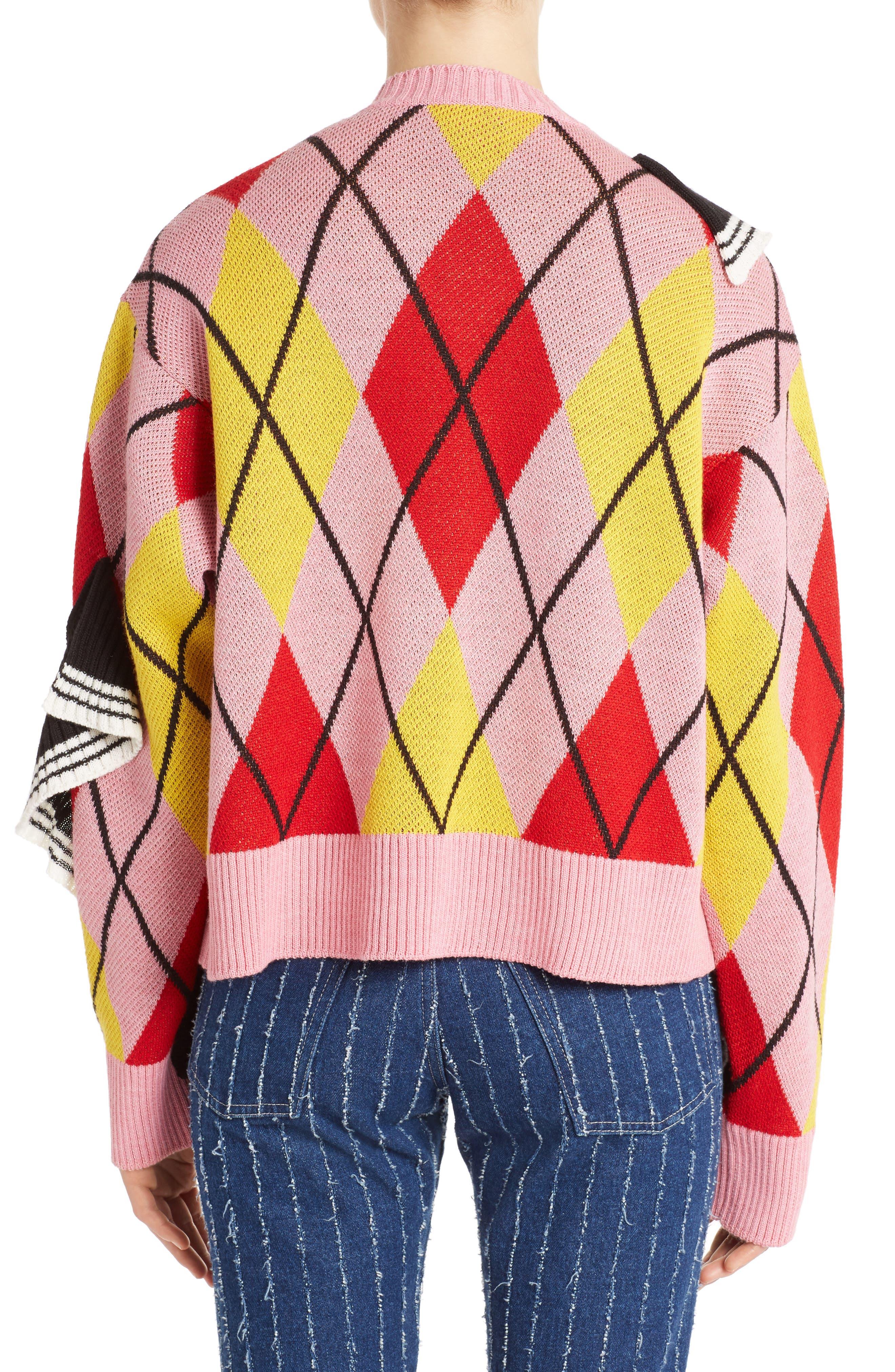 Argyle Ruffle Sweater,                             Alternate thumbnail 2, color,                             650