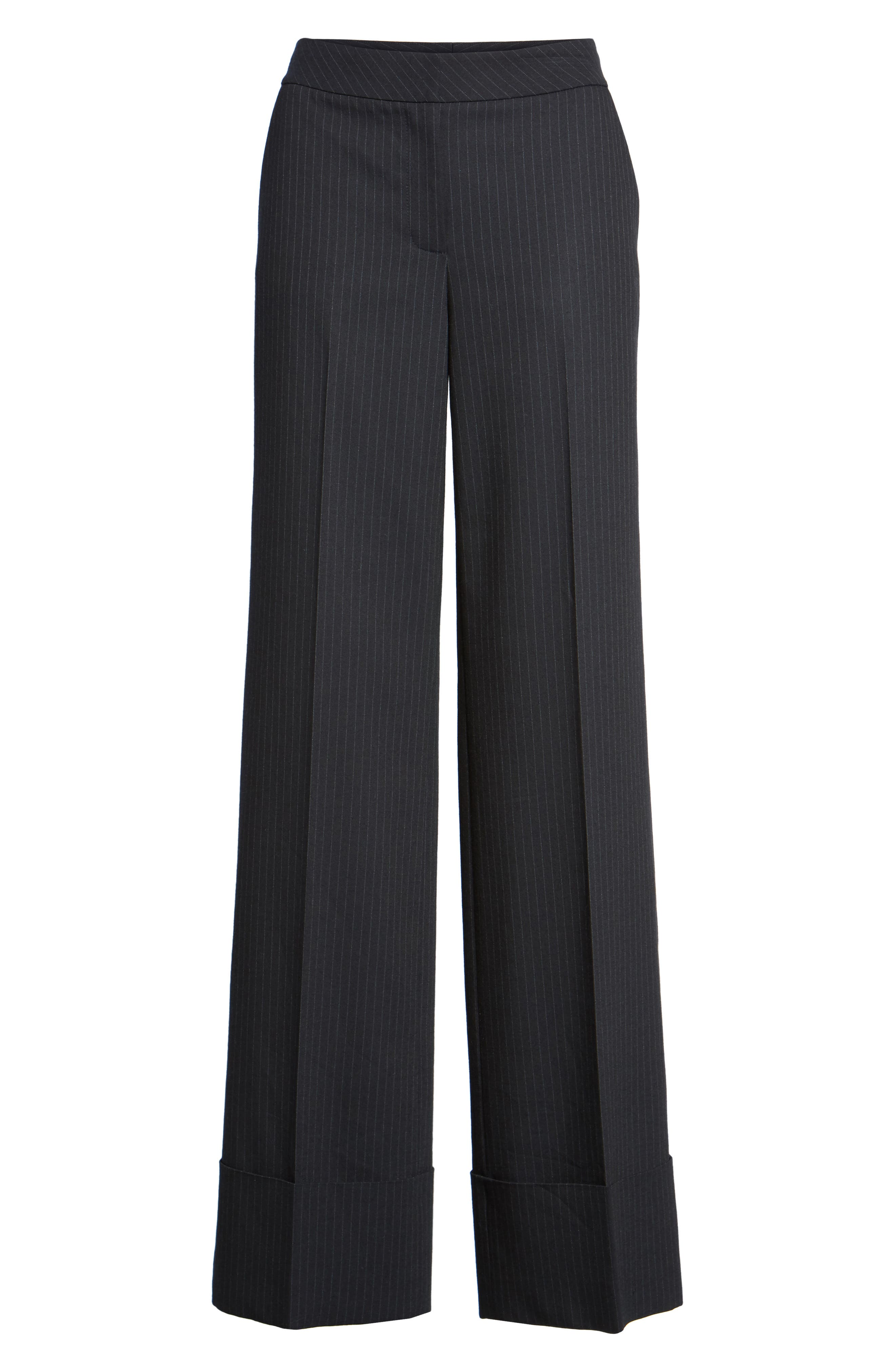 Cuffed Wide Leg Pinstripe Suit Pants,                             Alternate thumbnail 6, color,