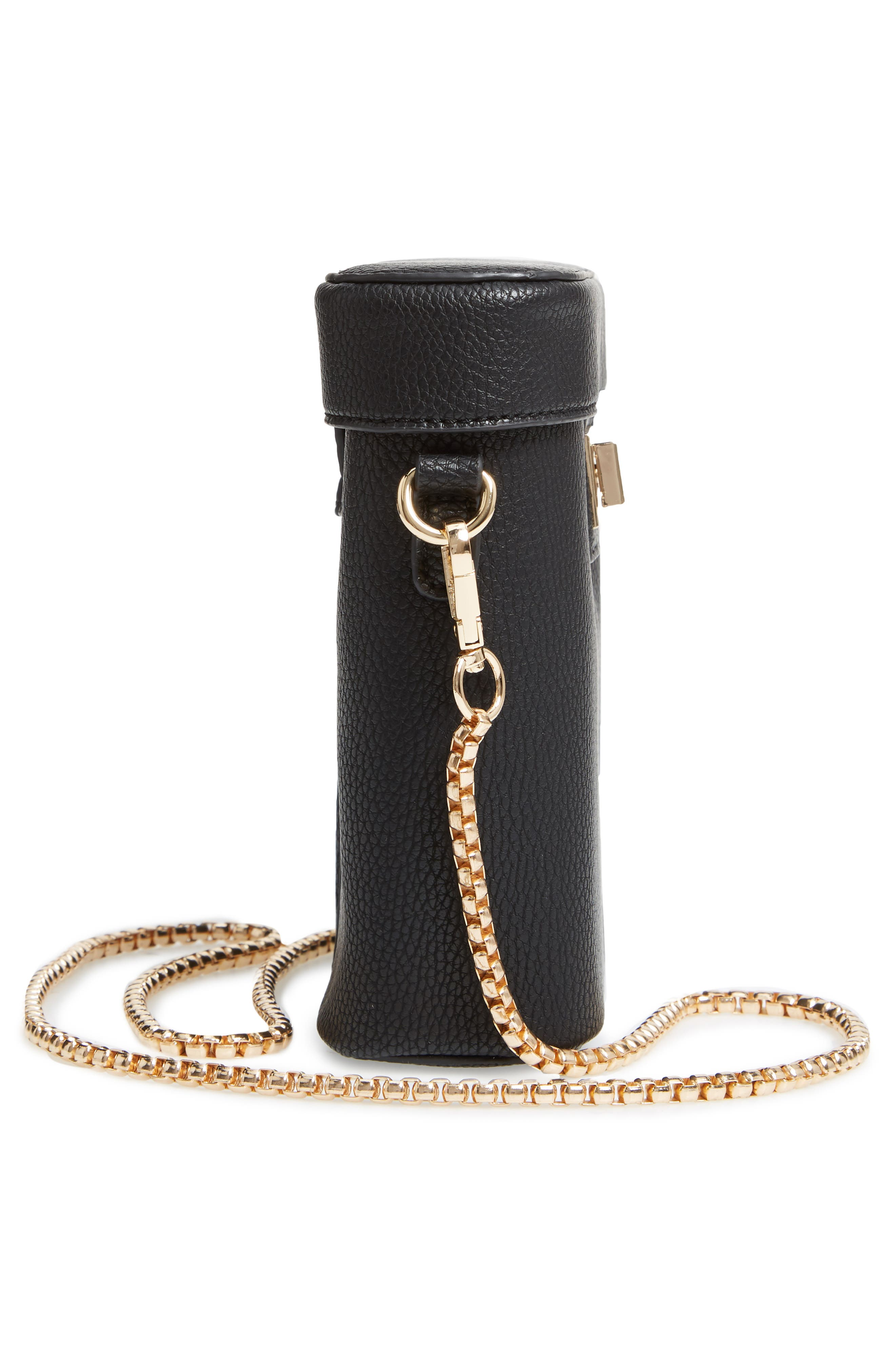 Lindsey Faux Leather Crossbody Bag,                             Alternate thumbnail 5, color,                             BLACK