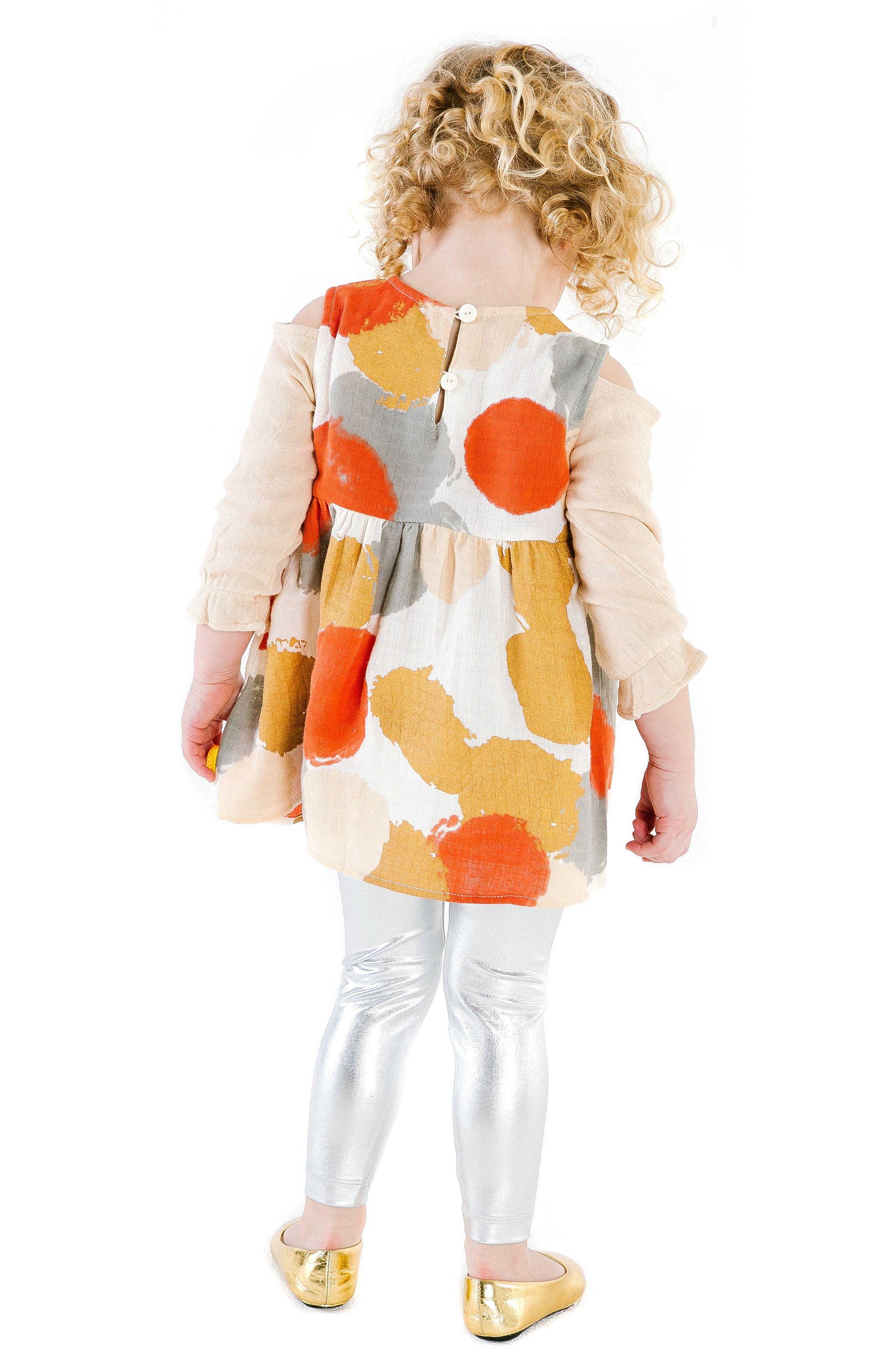 Layla Cold Shoulder Organic Cotton Dress,                             Alternate thumbnail 3, color,                             MULTI