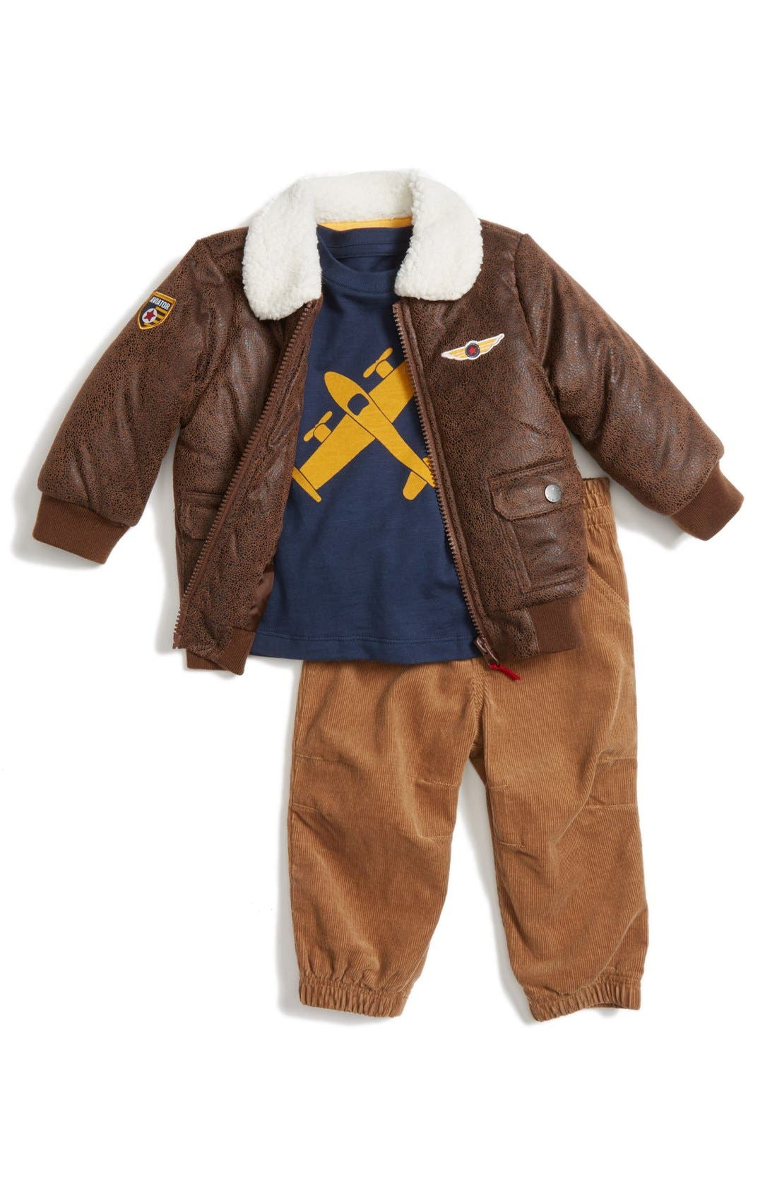 LITTLE ME 'Aviator' Bomber Jacket, Top & Pants, Main, color, 299