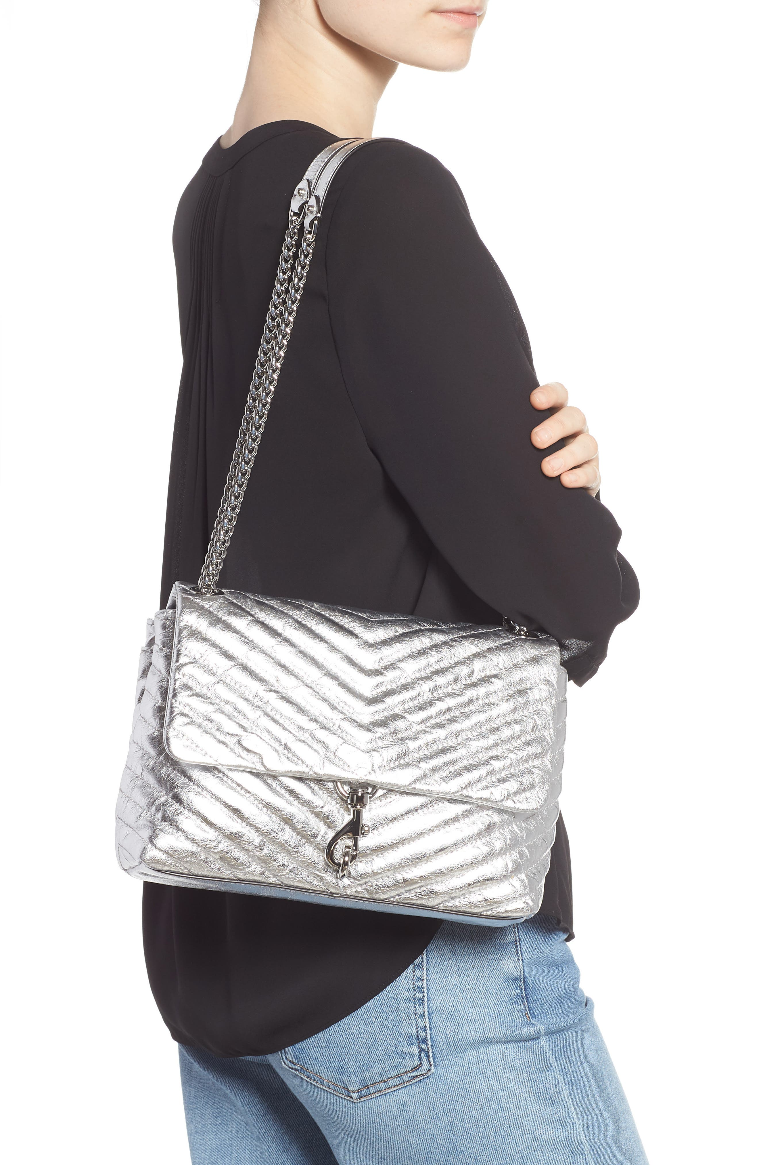 Edie Metallic Leather Shoulder Bag,                             Alternate thumbnail 2, color,                             SILVER