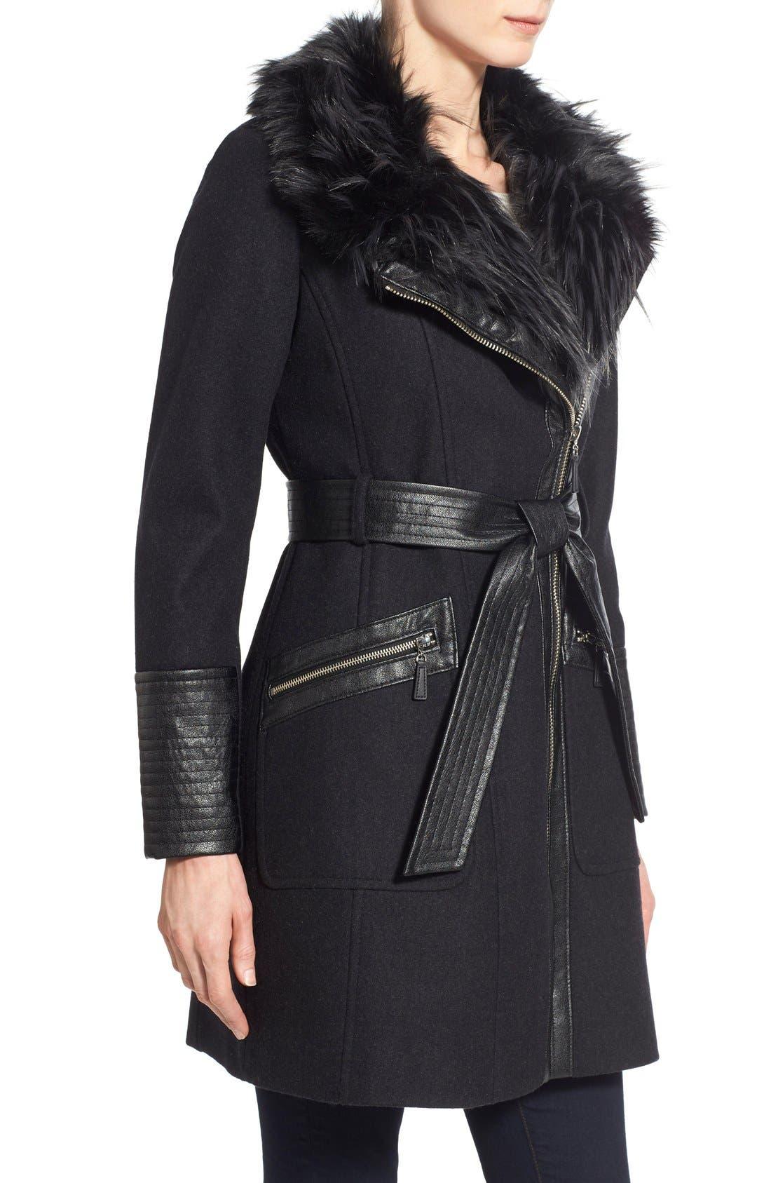 Faux Leather & Faux Fur Trim Belted Wool Blend Coat,                             Alternate thumbnail 12, color,