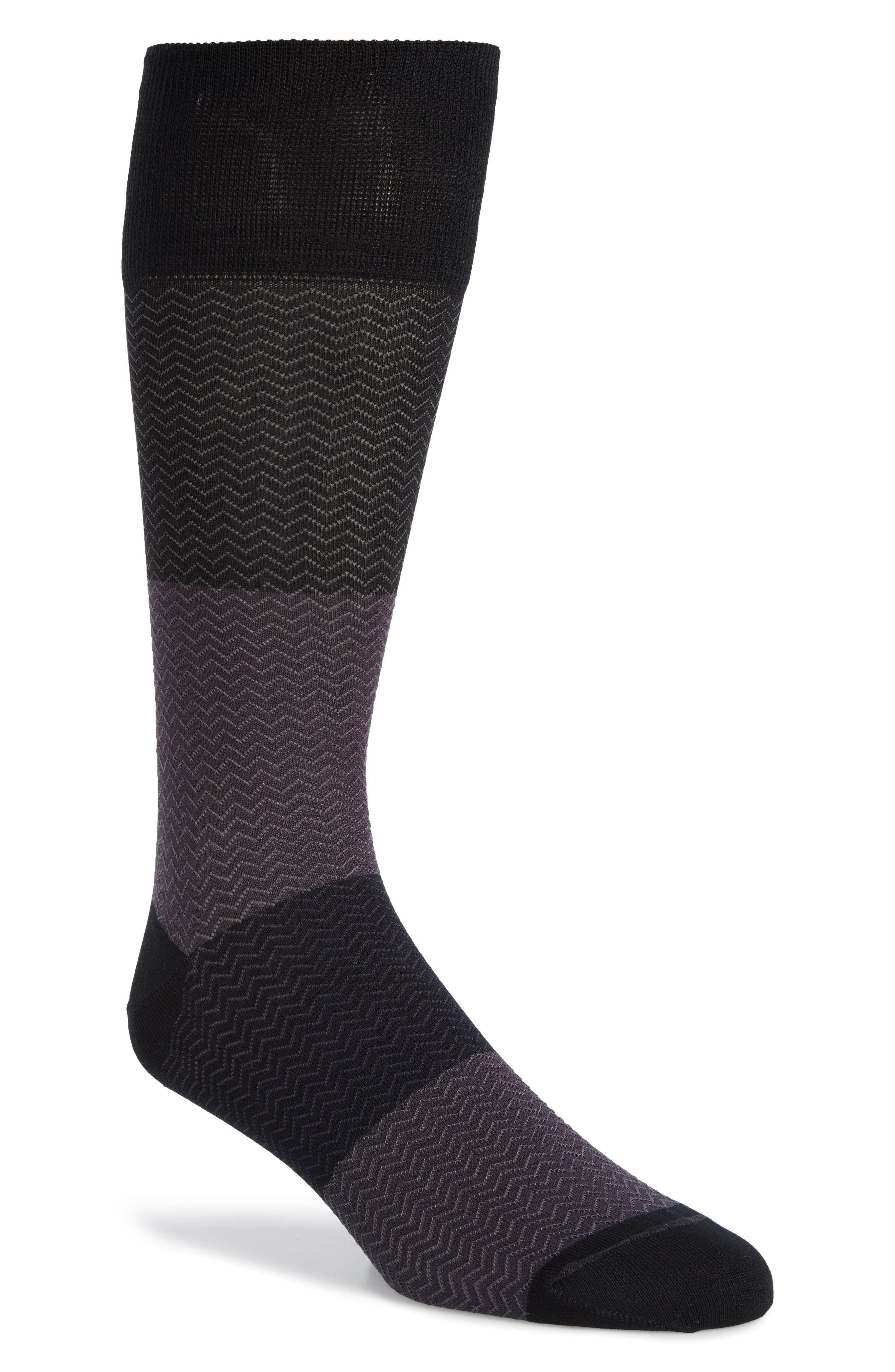 Gradient Herringbone Socks,                         Main,                         color, BLACK/ GREY