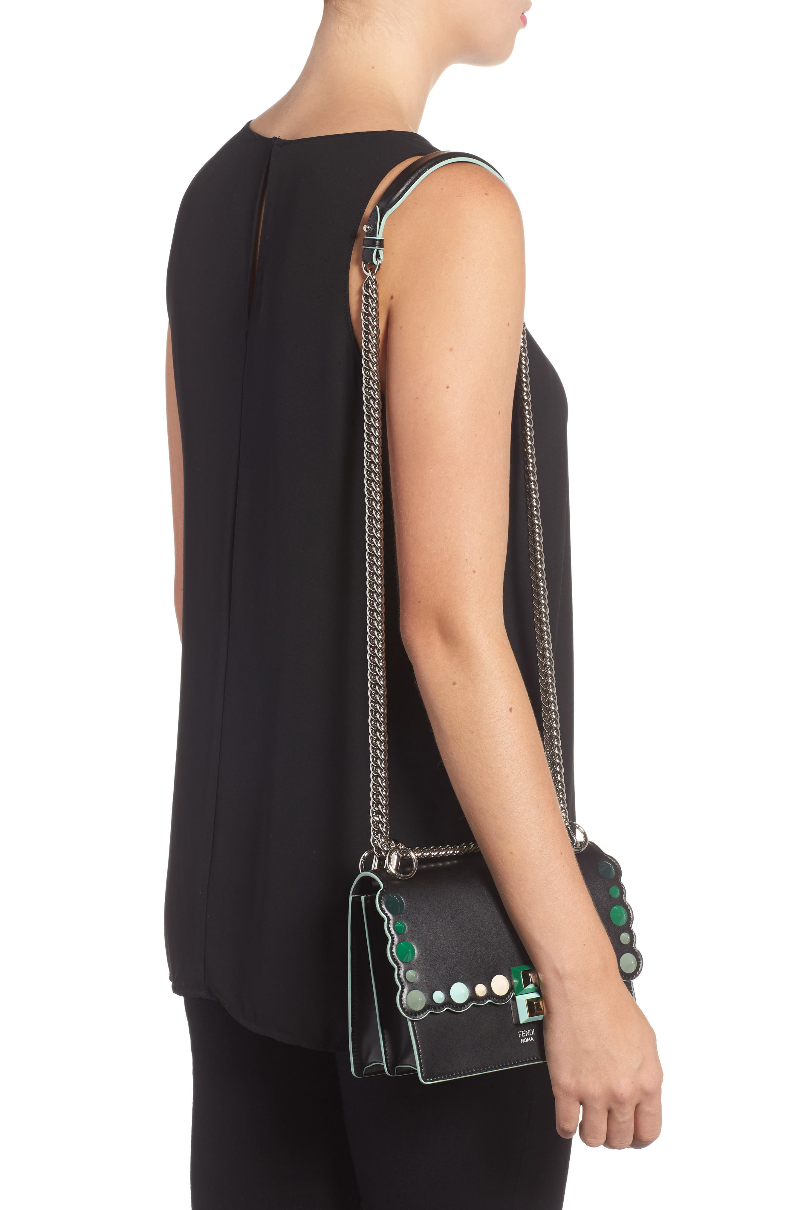 Mini Kan I Dégradé Stud Calfskin Shoulder Bag,                             Alternate thumbnail 2, color,                             BLACK/GREEN MULTI