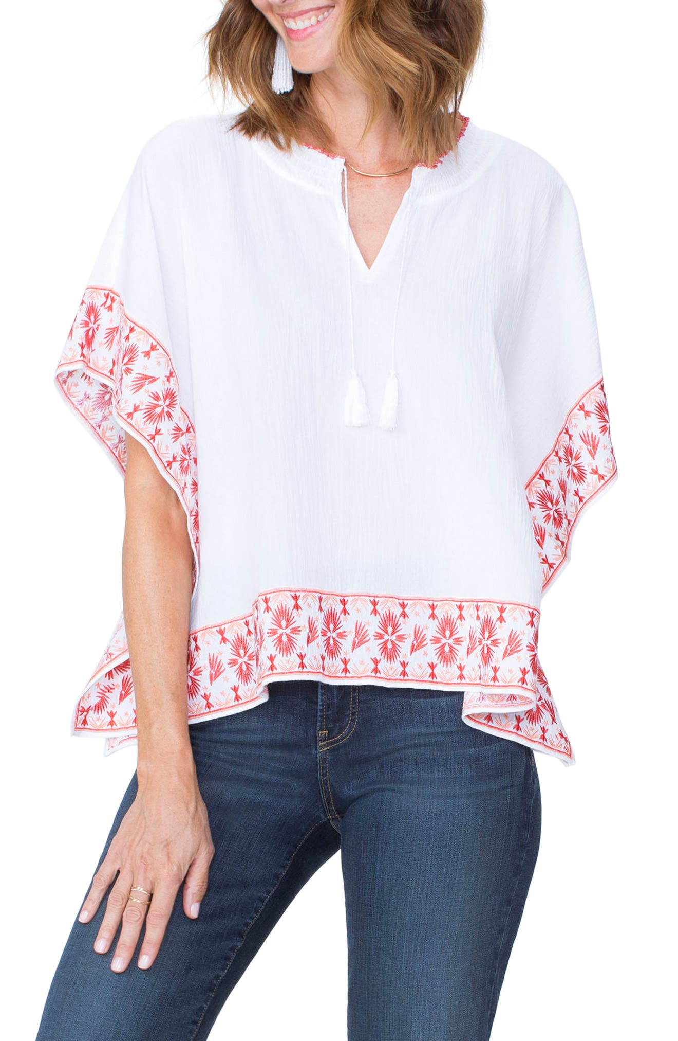 Cascade Embroidery Popover Top,                             Main thumbnail 1, color,                             115