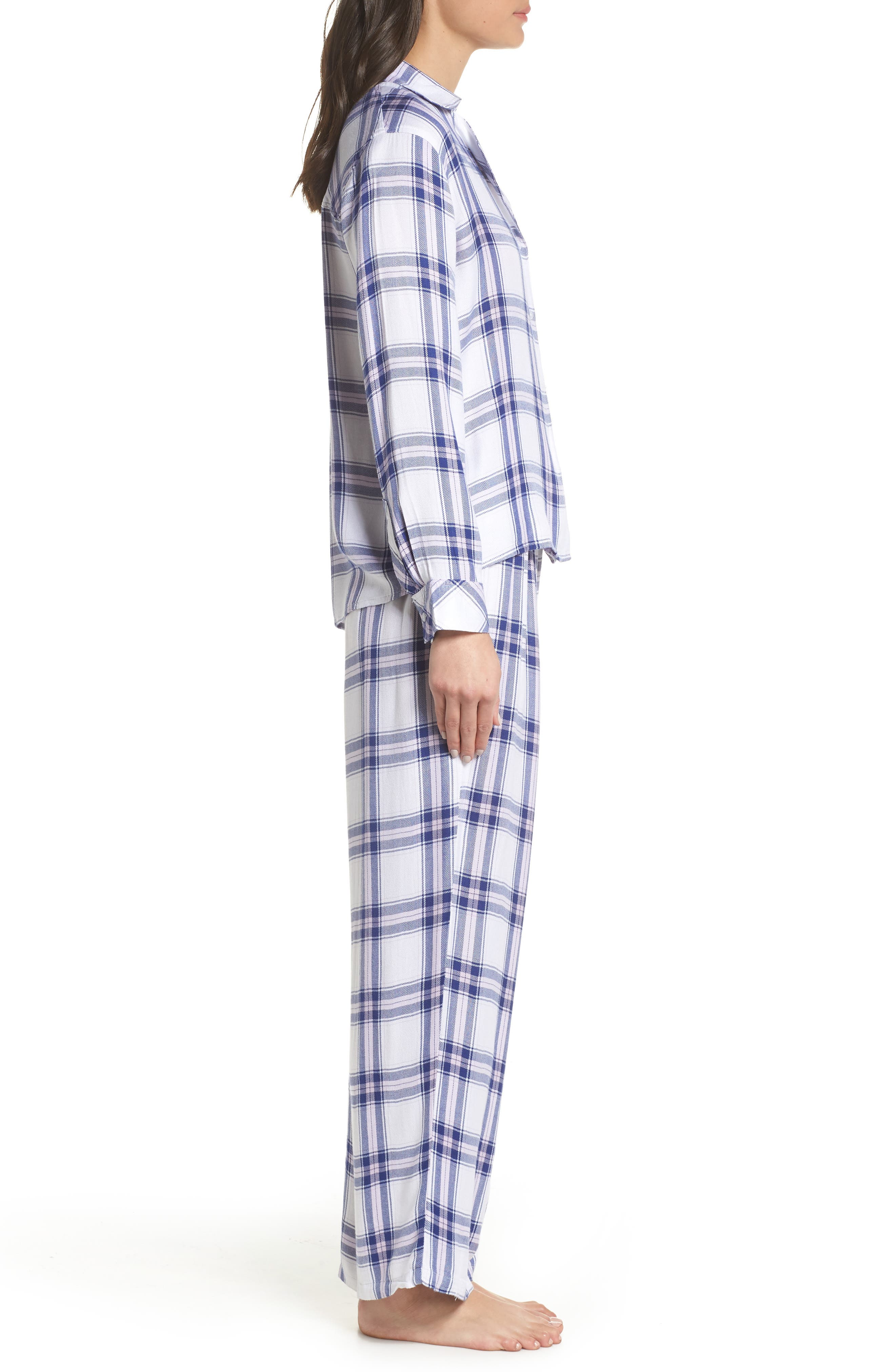 Plaid Pajamas,                             Alternate thumbnail 3, color,                             WHITE SAPPHIRE LILAC