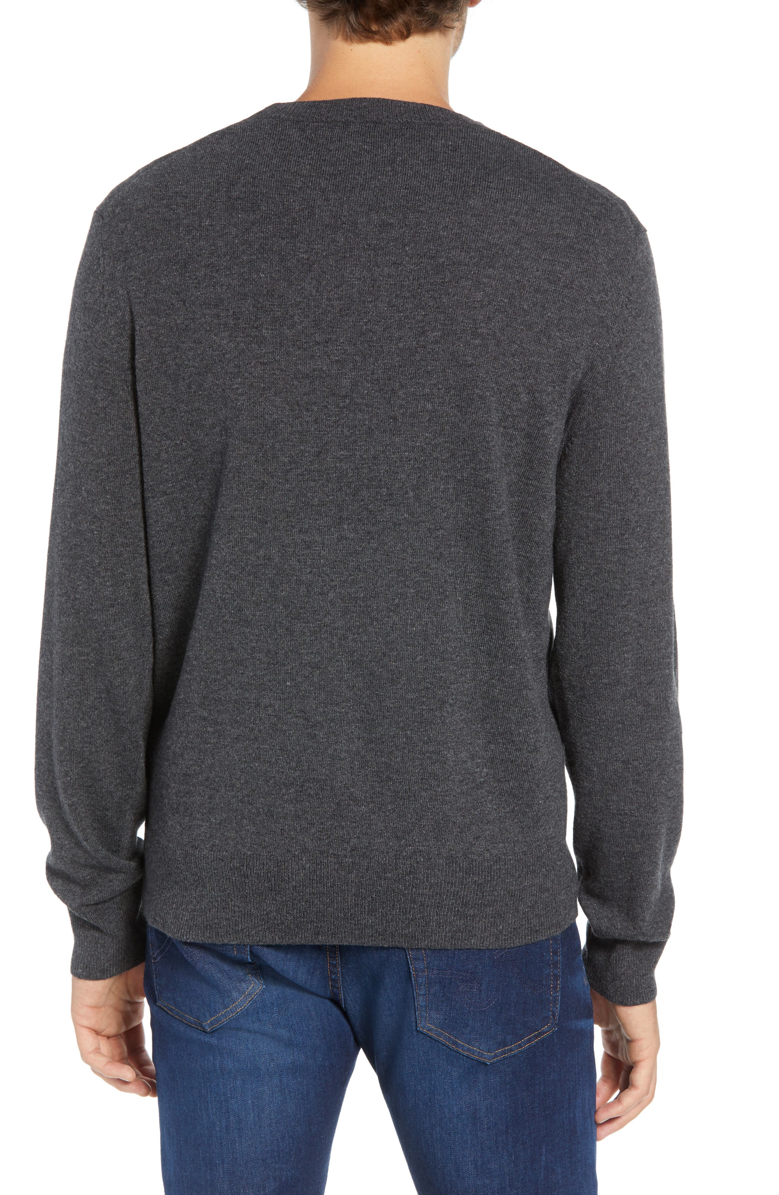 Slim Fit Lion Intarsia Sweater,                             Alternate thumbnail 2, color,                             CHARCOAL HEATHER