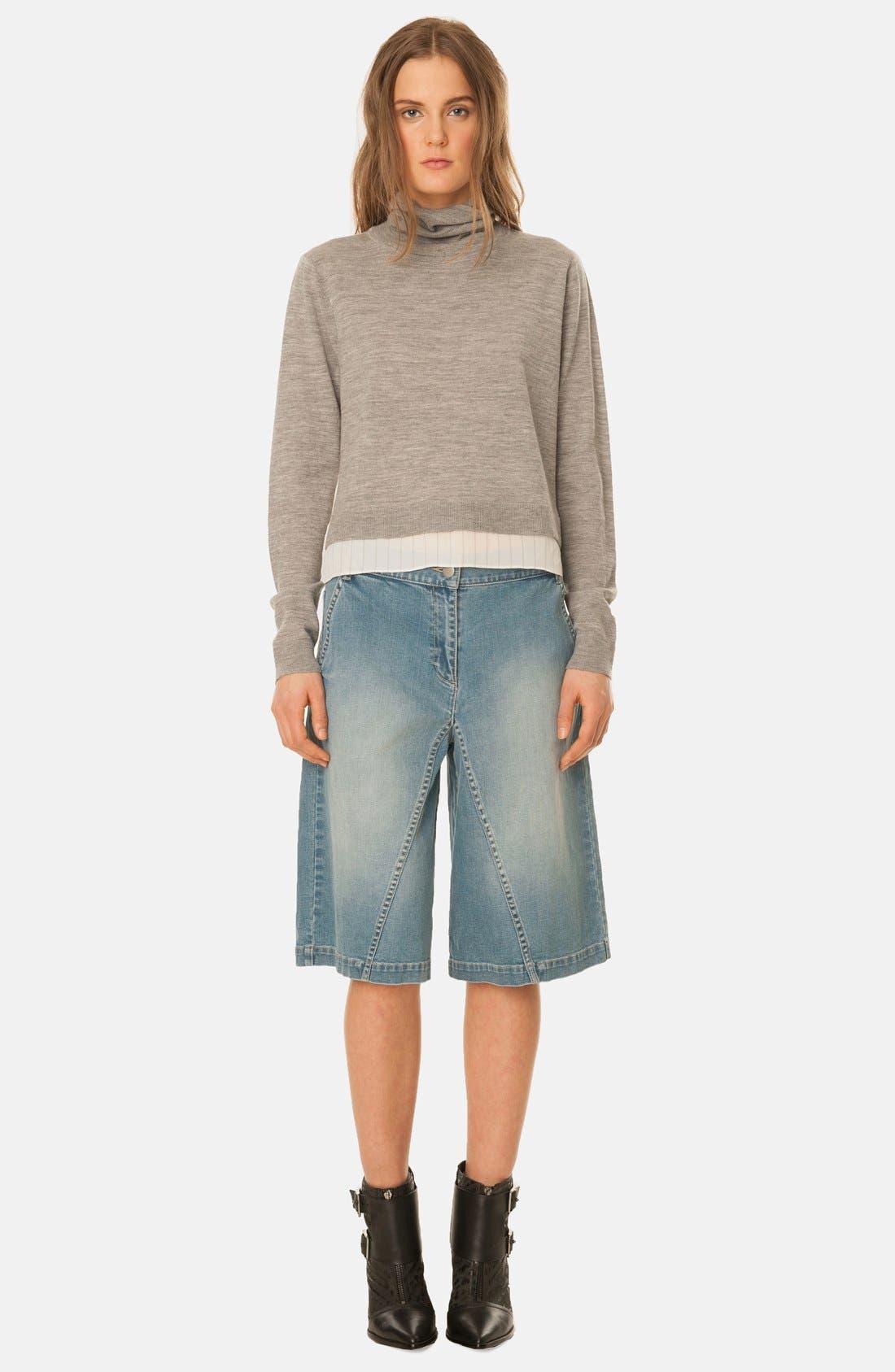 Denim Culotte Shorts,                             Main thumbnail 1, color,                             400