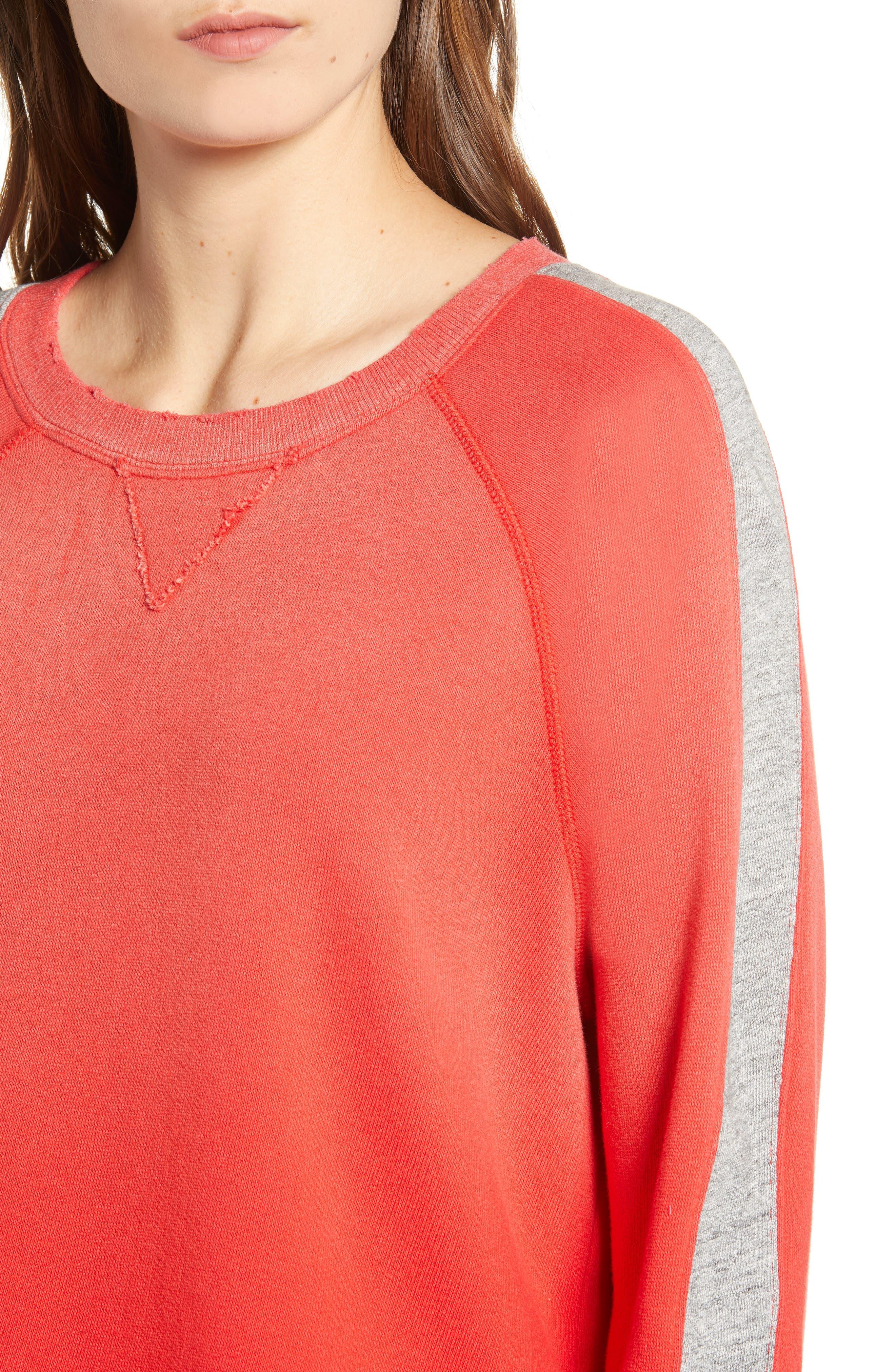 Varsity Stripe Sweatshirt,                             Alternate thumbnail 4, color,                             ROUGE