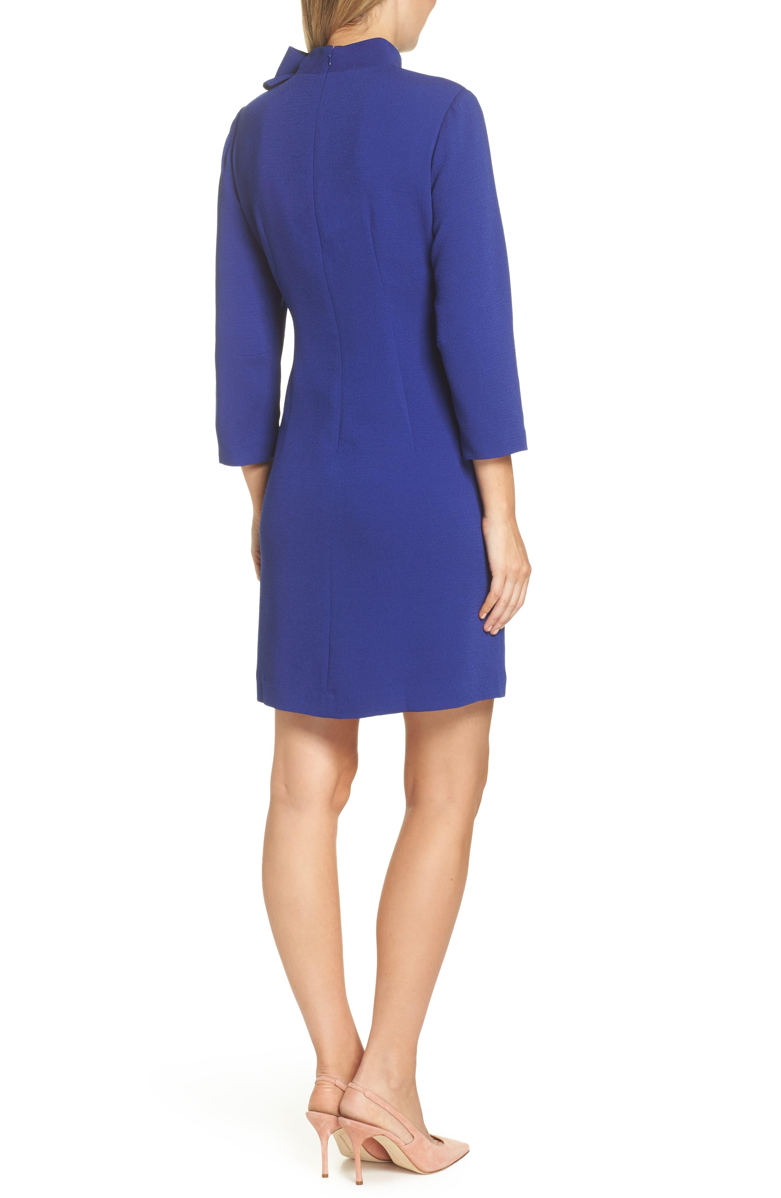 Bow Crepe A-Line Dress,                             Alternate thumbnail 2, color,                             COBALT