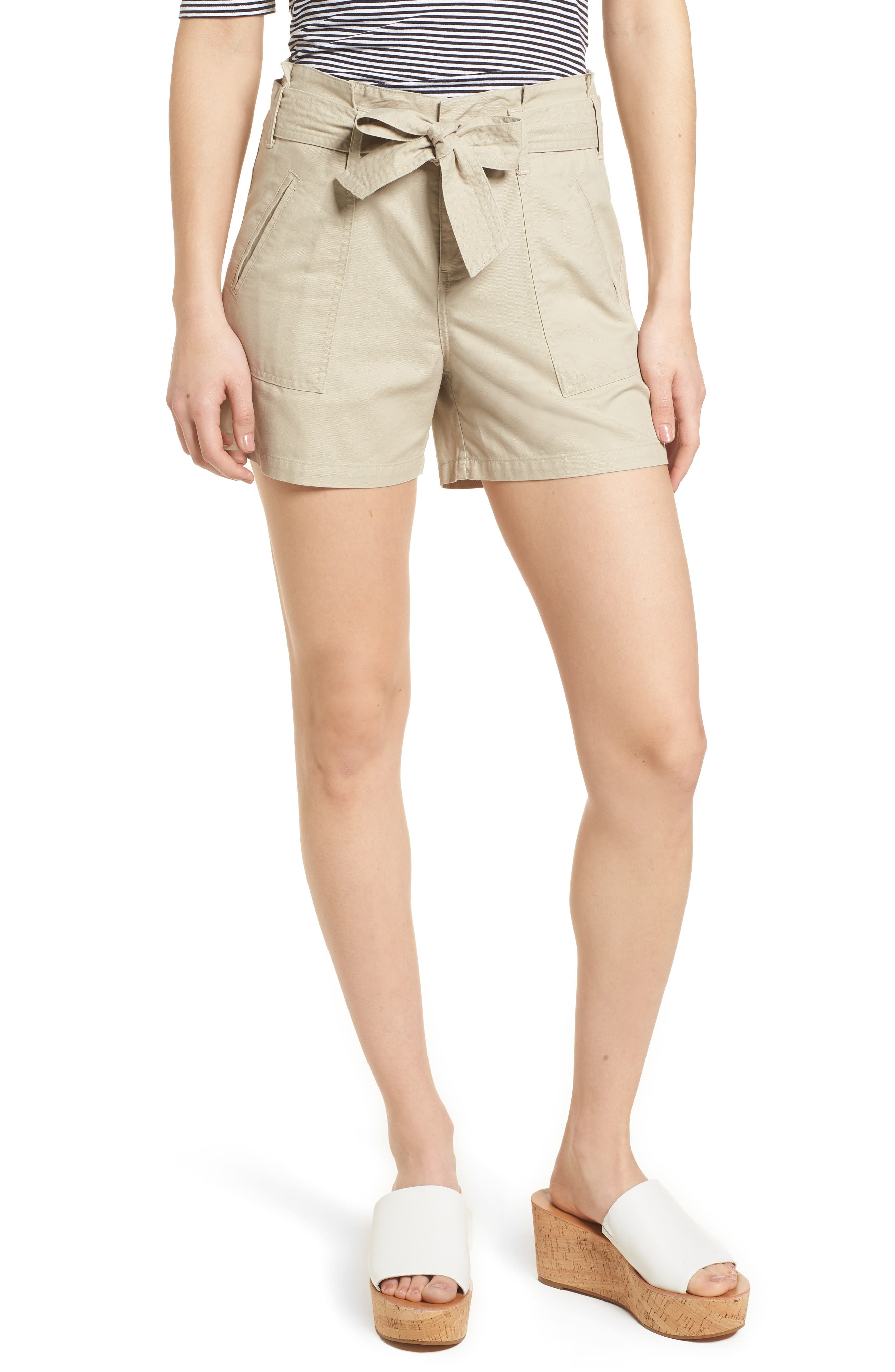 Belted Twill Shorts,                         Main,                         color, TAN OXFORD