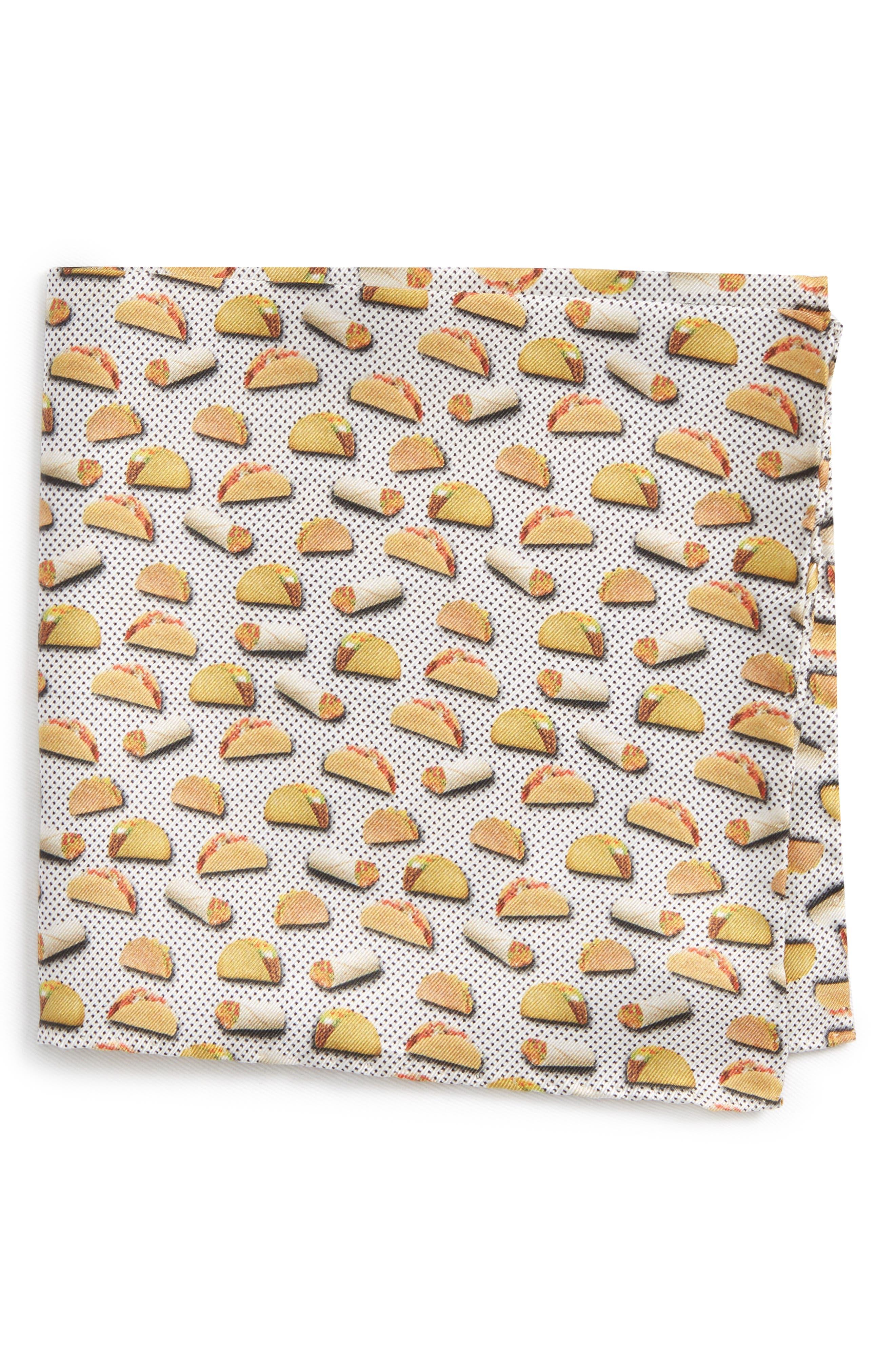 Taco Silk Pocket Square,                             Main thumbnail 1, color,