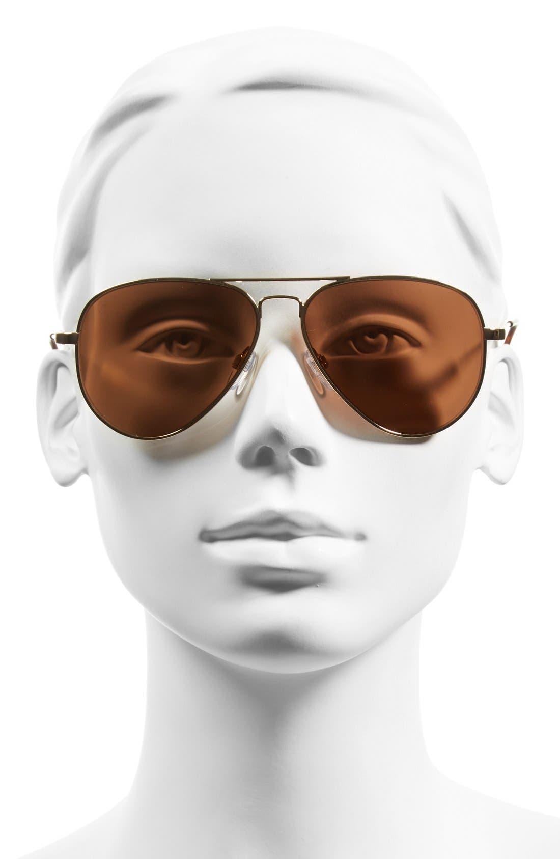 'AV1' 58mm Aviator Sunglasses,                             Alternate thumbnail 2, color,                             GOLD/ BRONZE