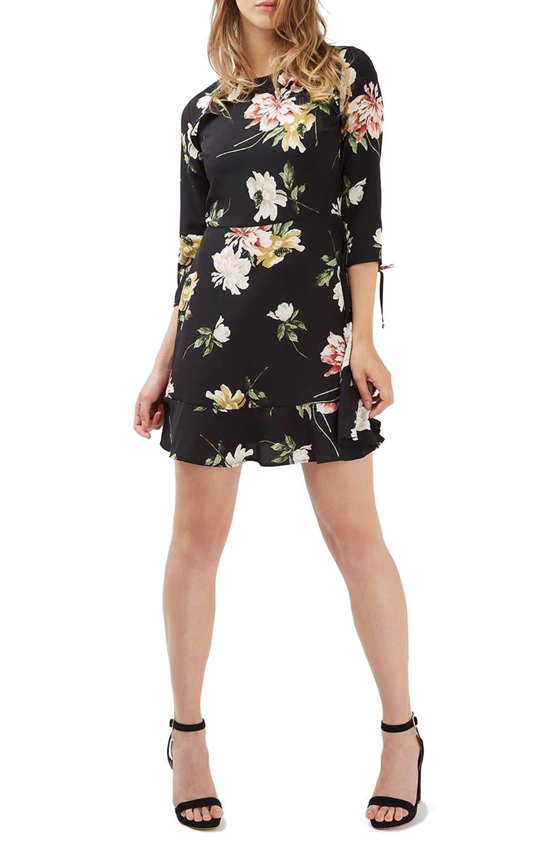 Ruffle Floral Tea Dress,                             Alternate thumbnail 2, color,                             001
