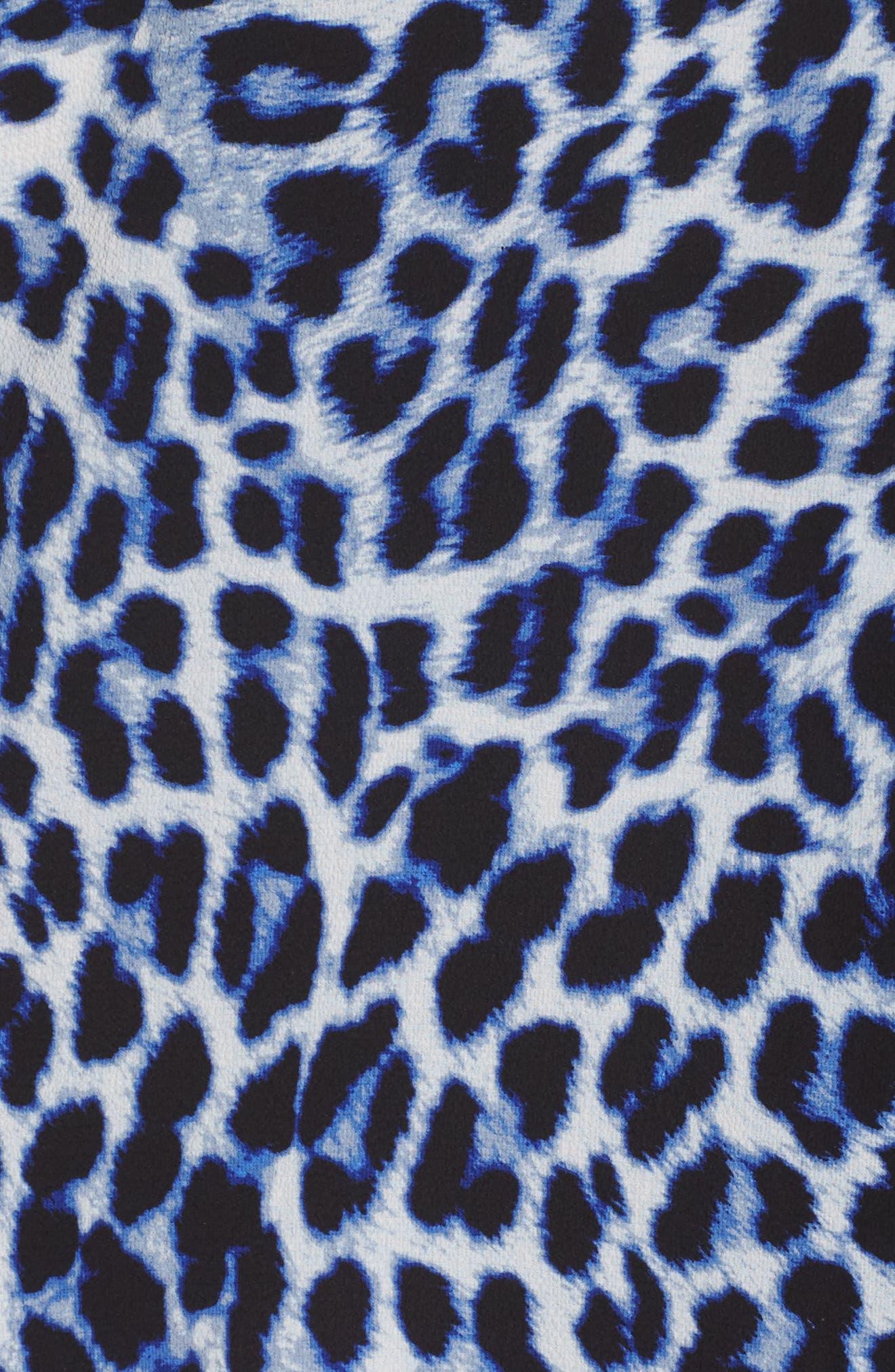 Leopard Song Inverted Pleat Shift Dress,                             Alternate thumbnail 5, color,