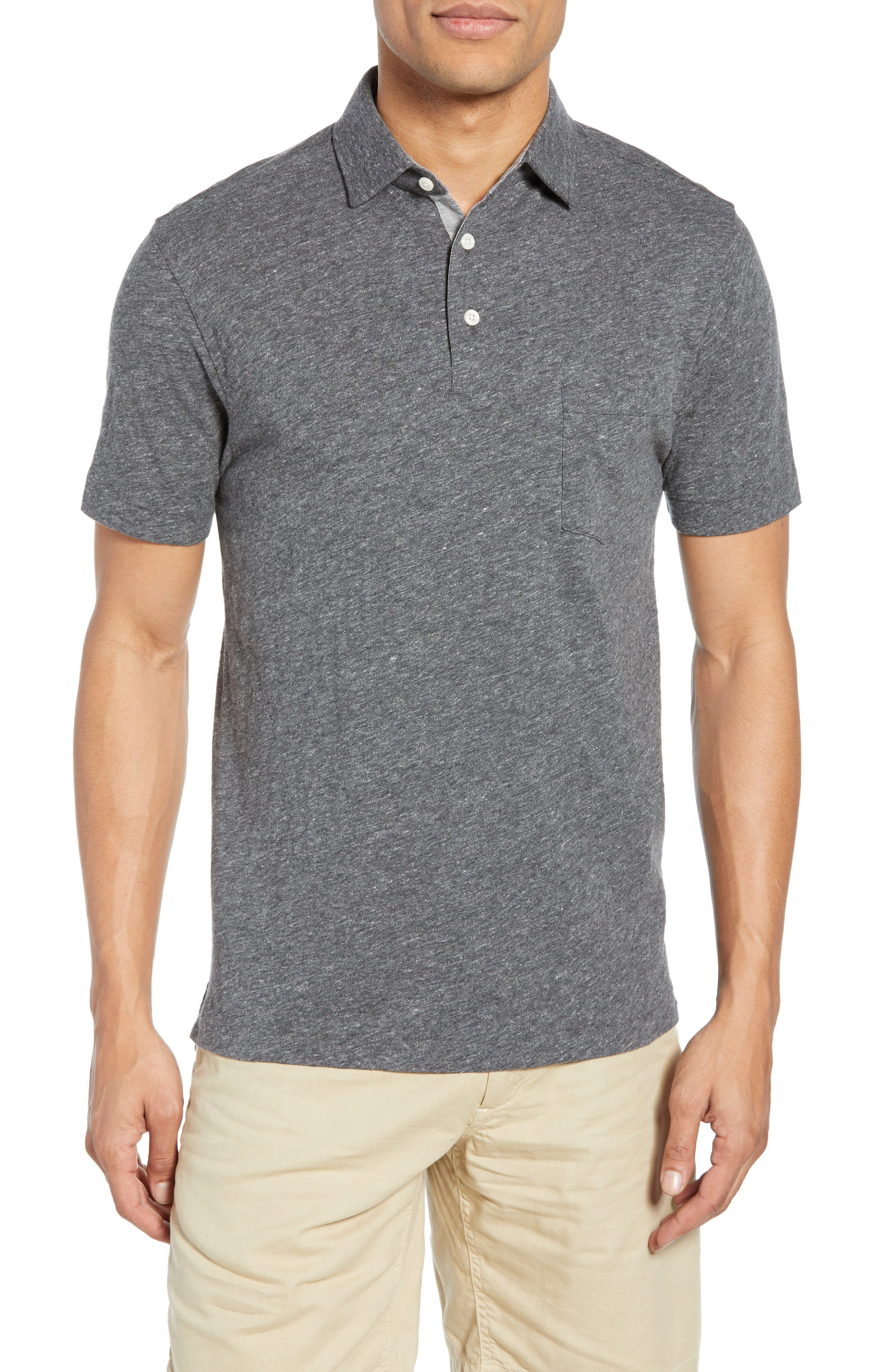 Faherty Bleecker Regular Fit Polo, Black