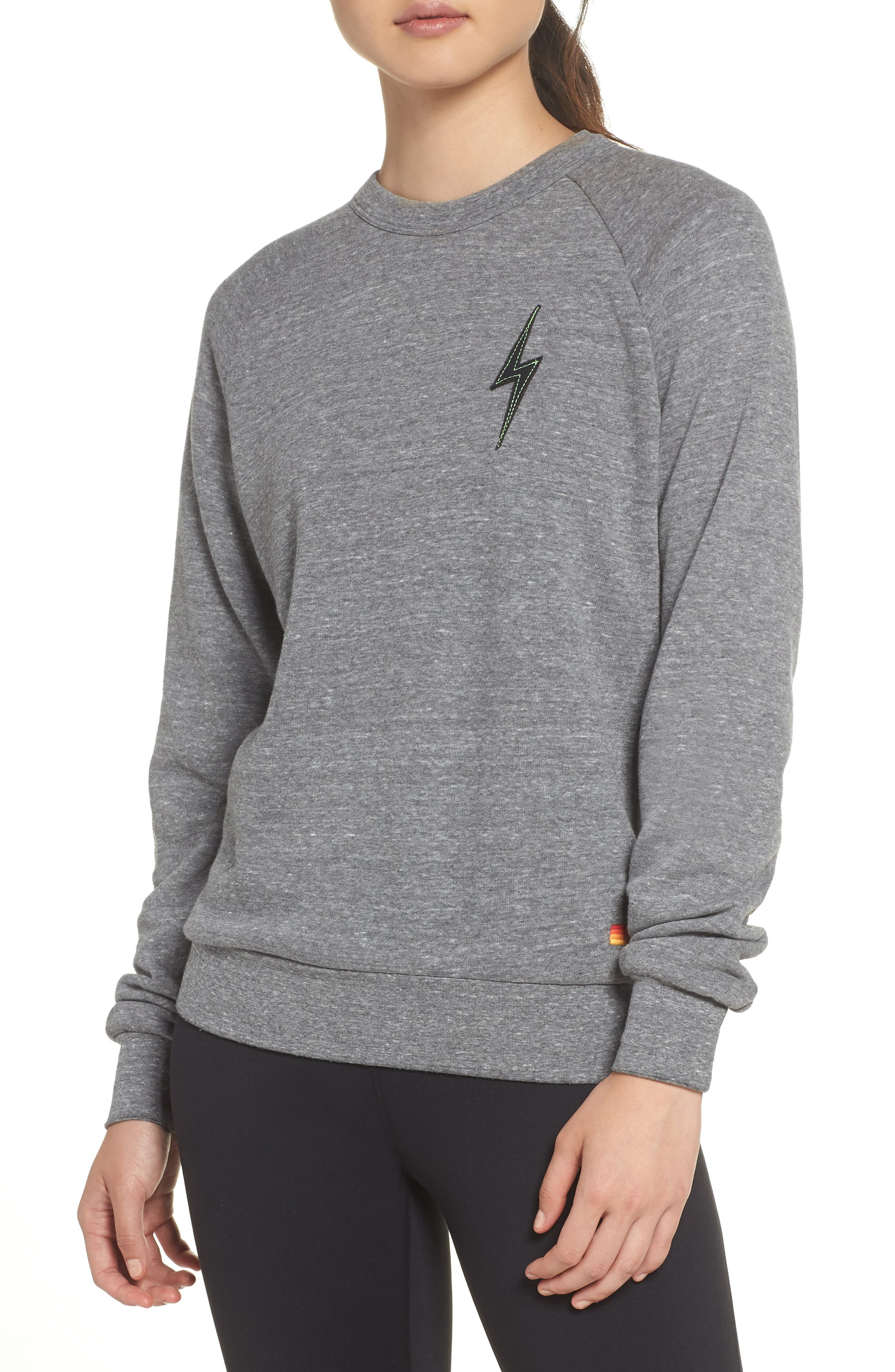 Bolt Stitch Crew Sweatshirt,                             Main thumbnail 1, color,                             HEATHER GREY
