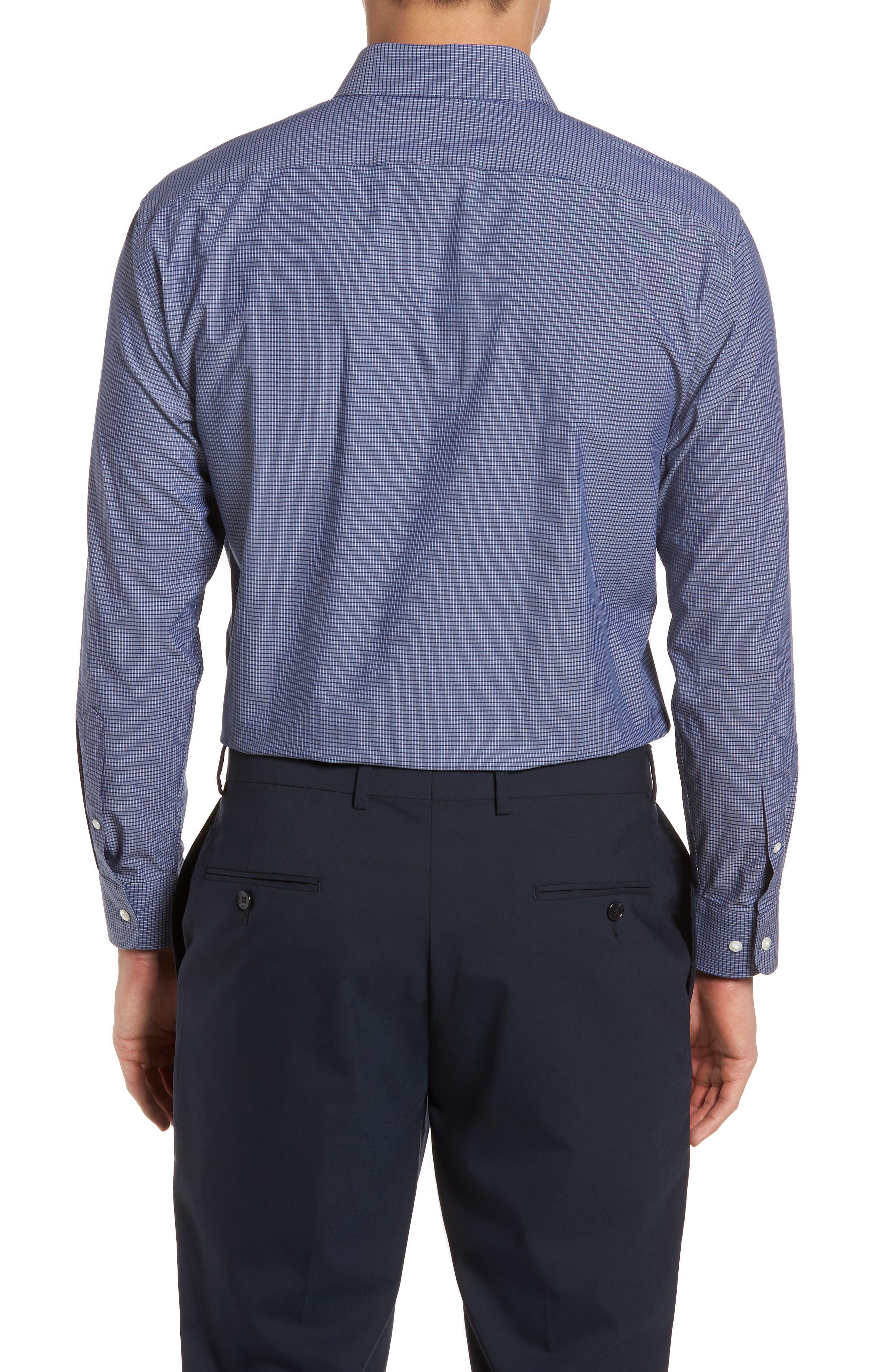 Tech-Smart Trim Fit Stretch Check Dress Shirt,                             Alternate thumbnail 3, color,                             410