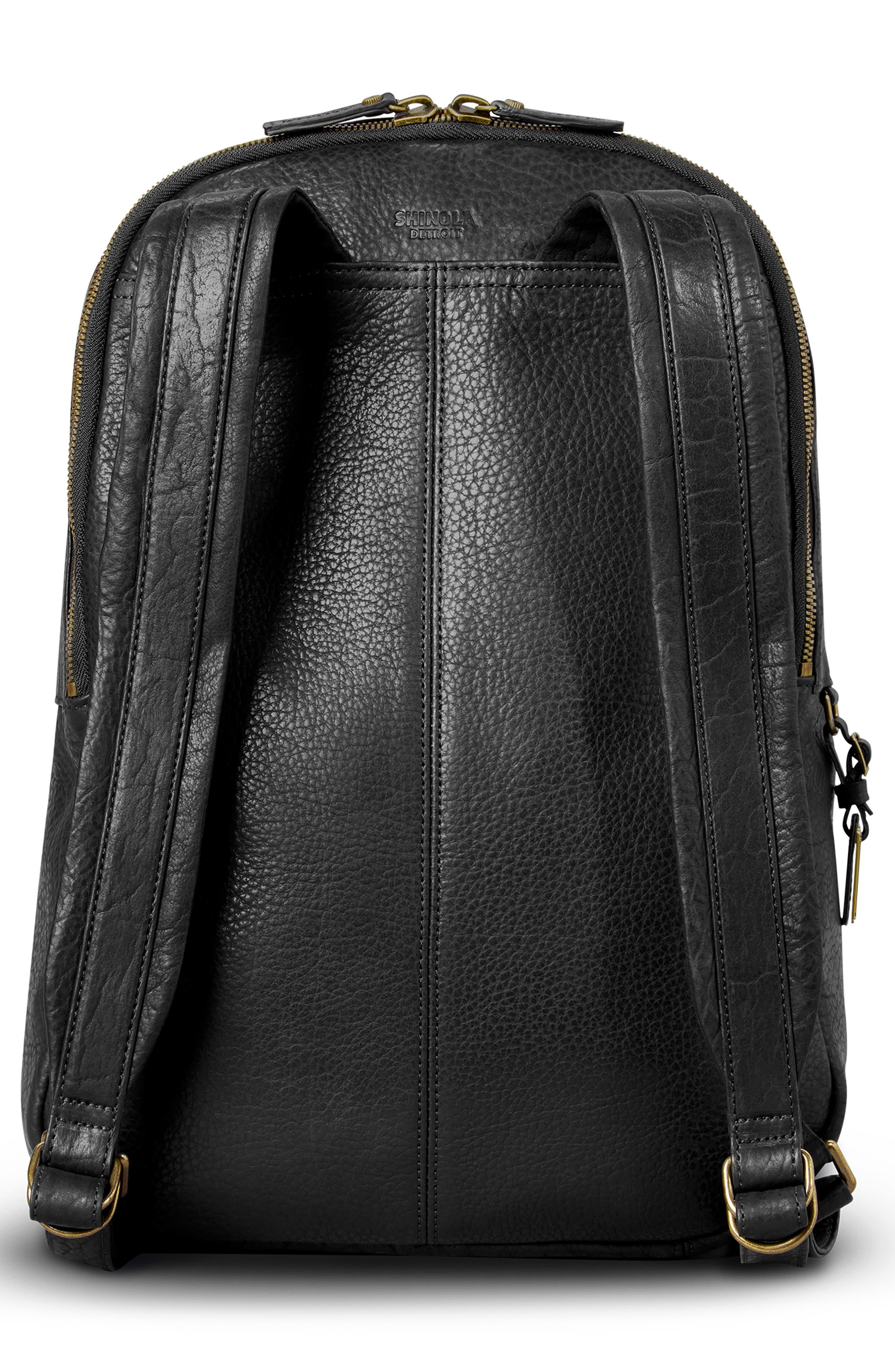 Bison Runwell Leather Backpack,                             Alternate thumbnail 2, color,                             BLACK