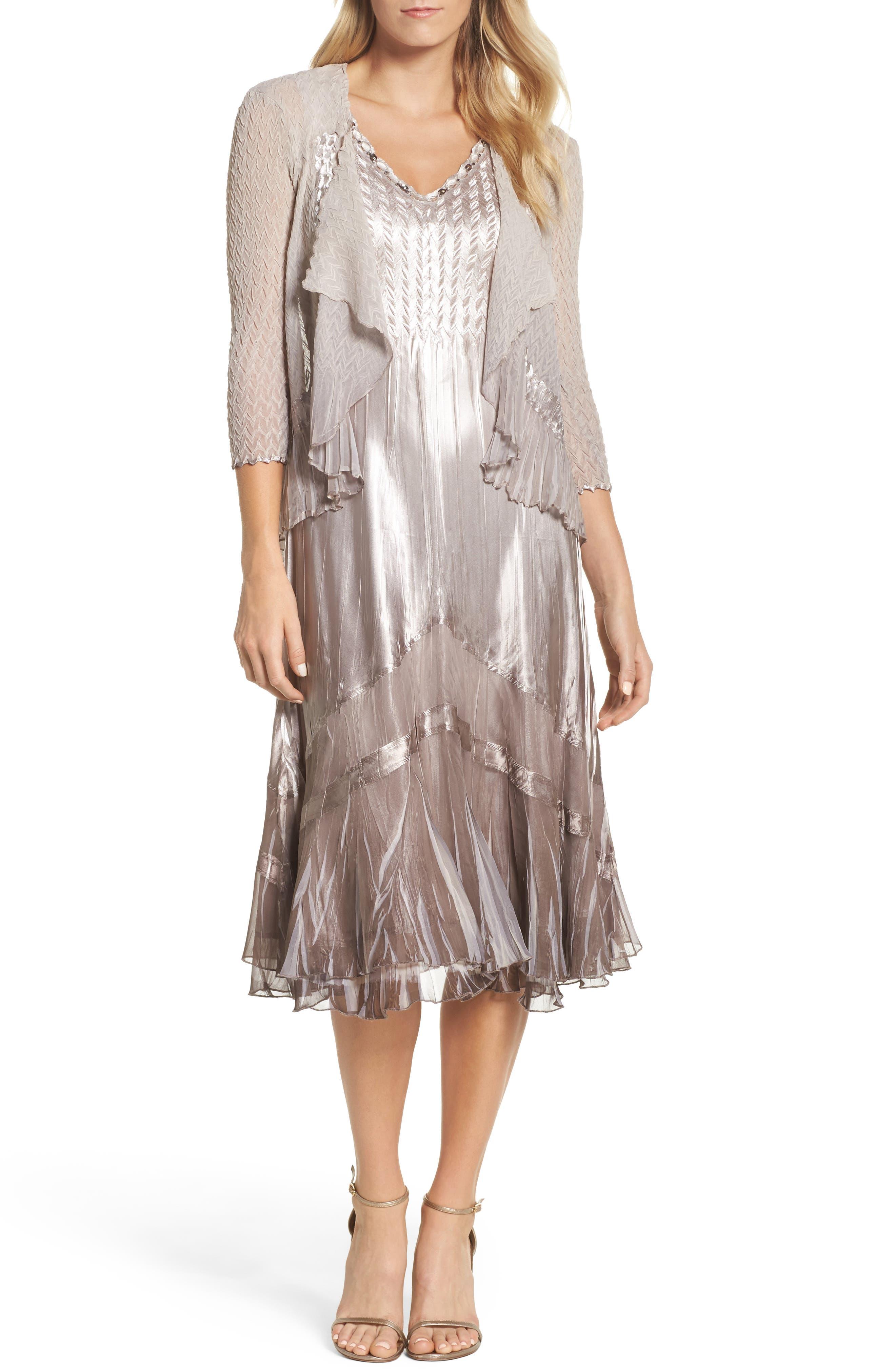 Beaded Charmeuse & Chiffon Midi Dress with Jacket,                             Main thumbnail 1, color,                             057