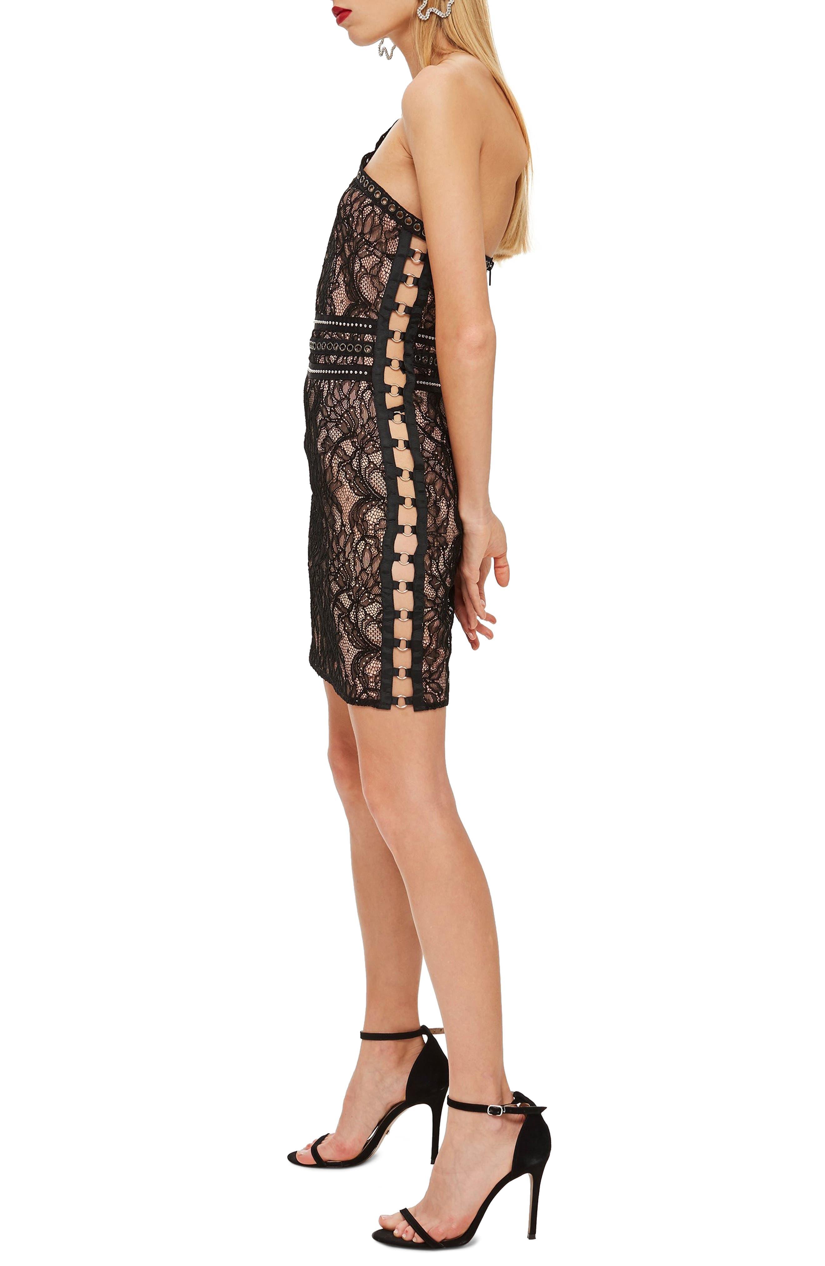 One-Shoulder Lace Body-Con Dress,                             Alternate thumbnail 3, color,                             BLACK MULTI