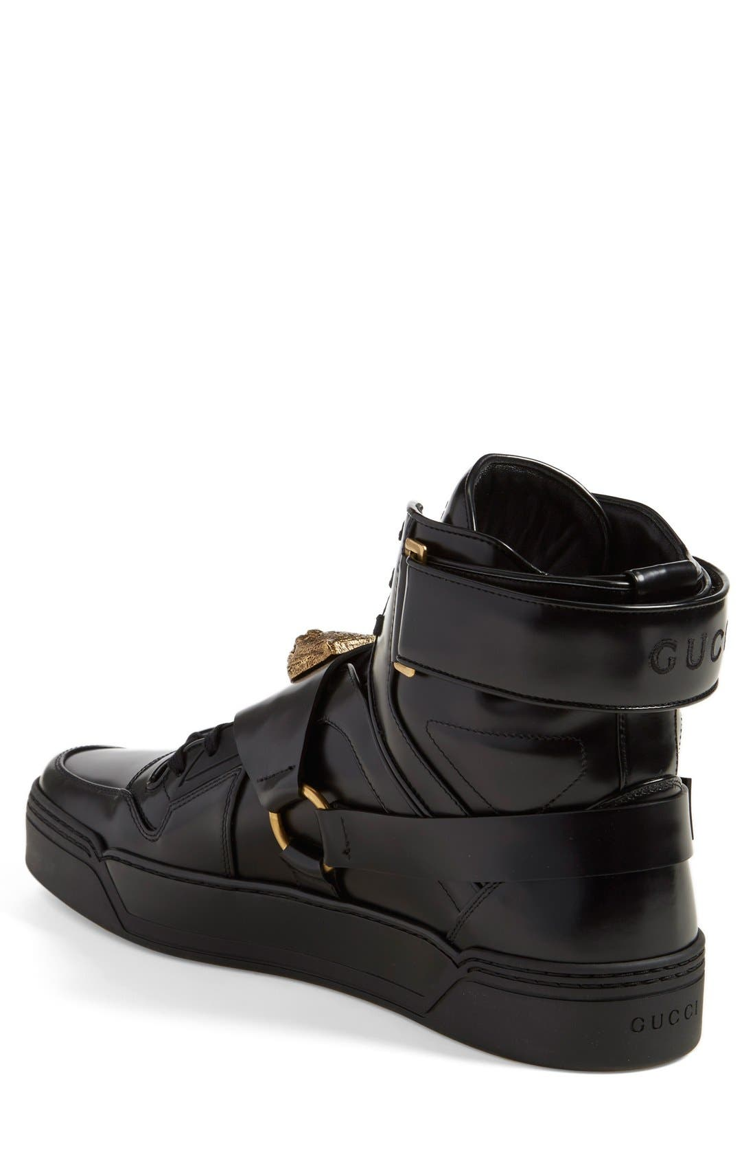 GUCCI,                             'Tiger' High Top Sneaker,                             Alternate thumbnail 4, color,                             001