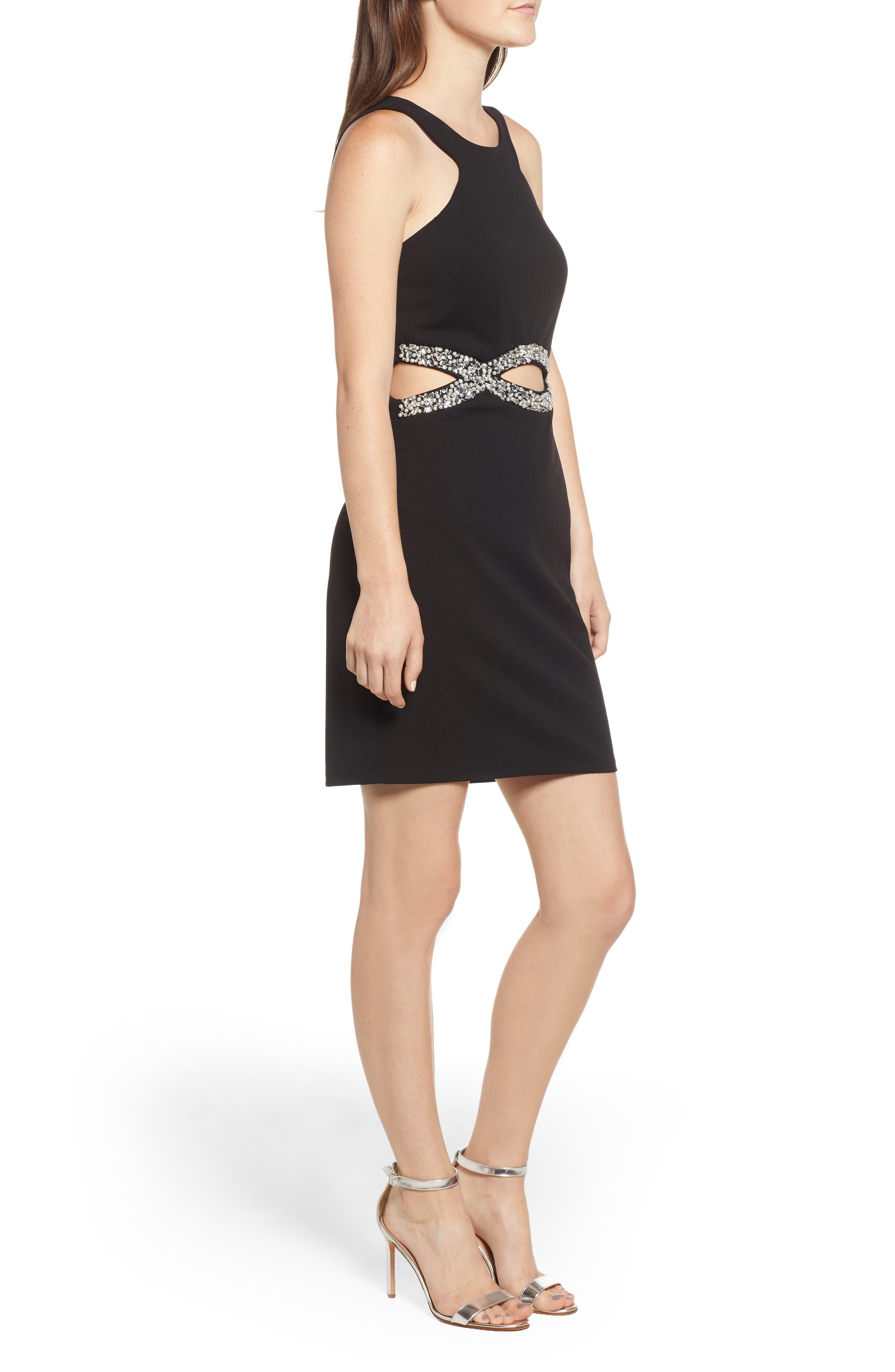 Scuba Dress,                             Alternate thumbnail 3, color,                             BLACK