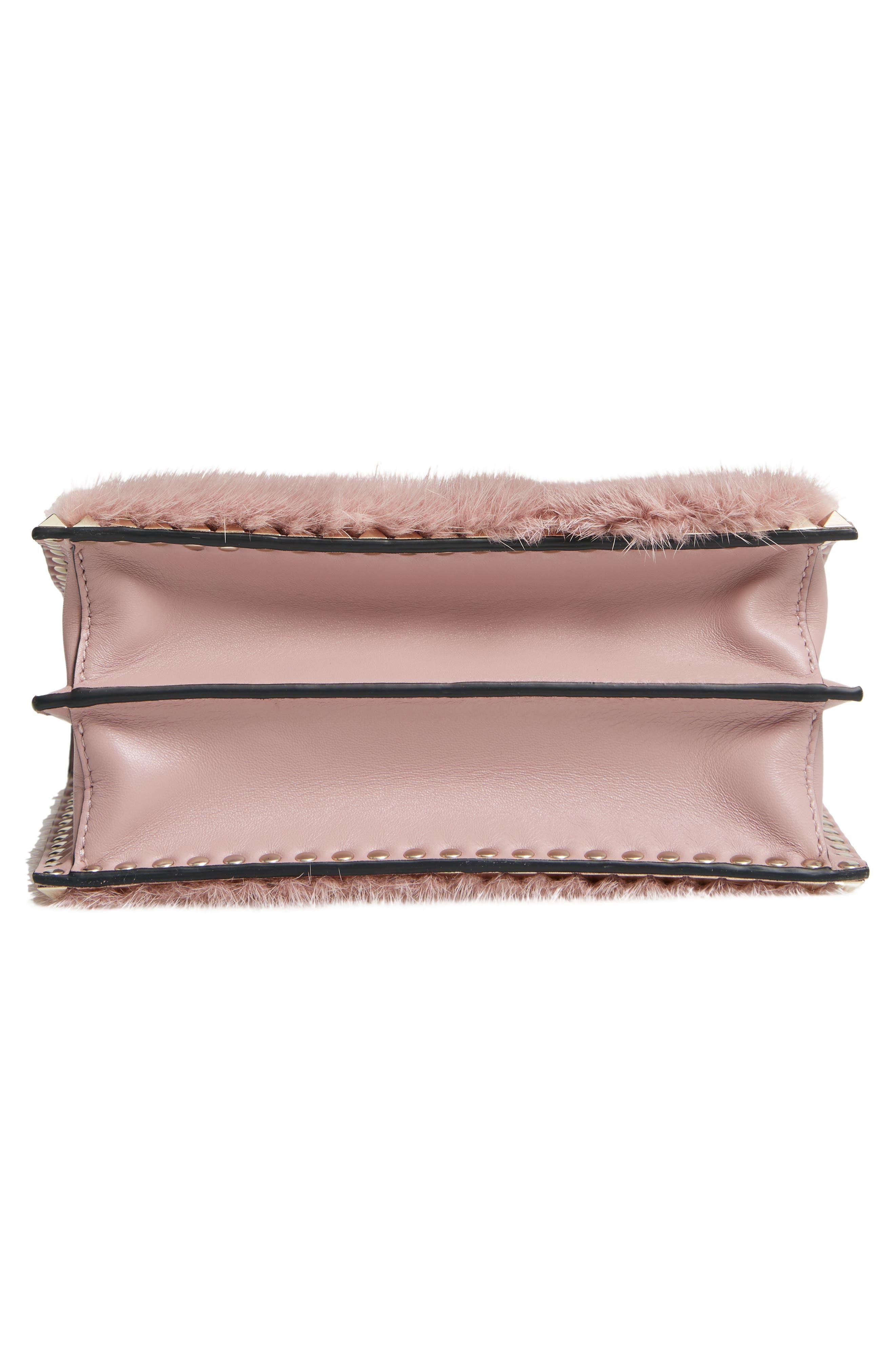 Small Rockstud Genuine Mink Fur Shoulder Bag,                             Alternate thumbnail 6, color,                             LIP