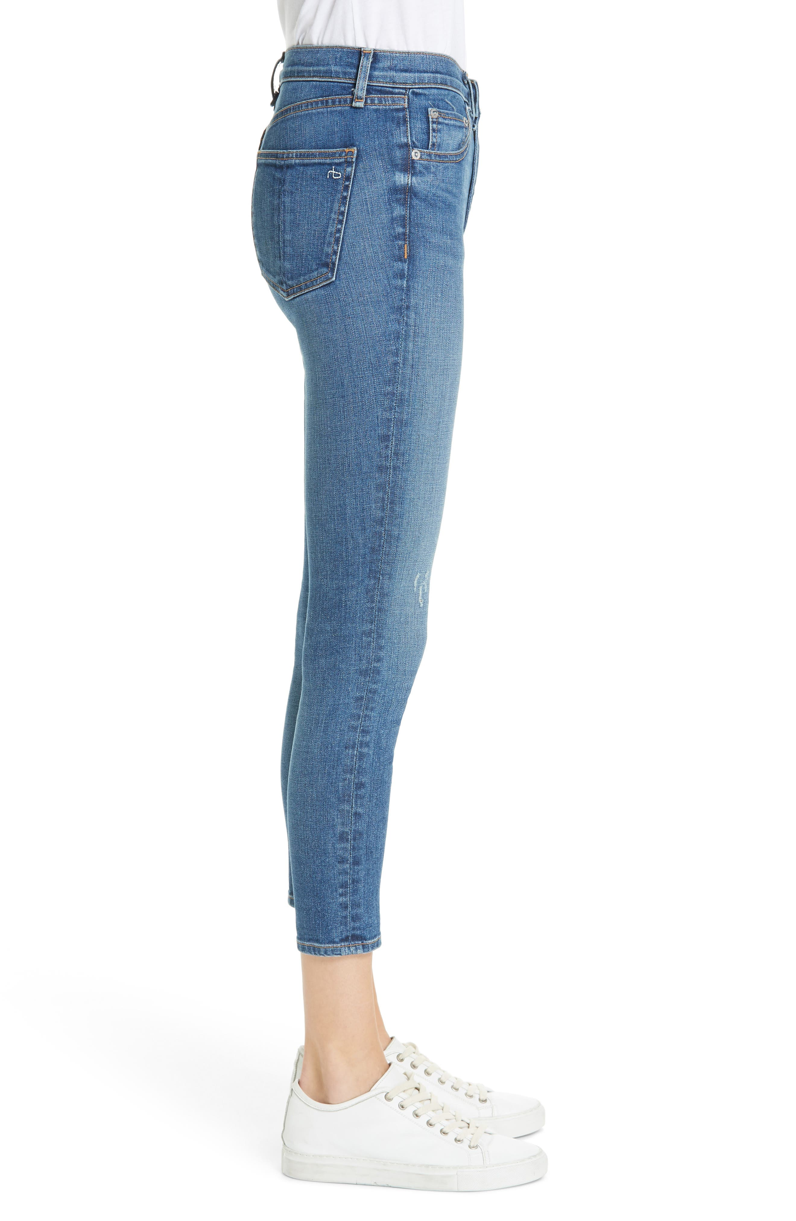 High Waist Ankle Skinny Jeans,                             Alternate thumbnail 3, color,                             EL