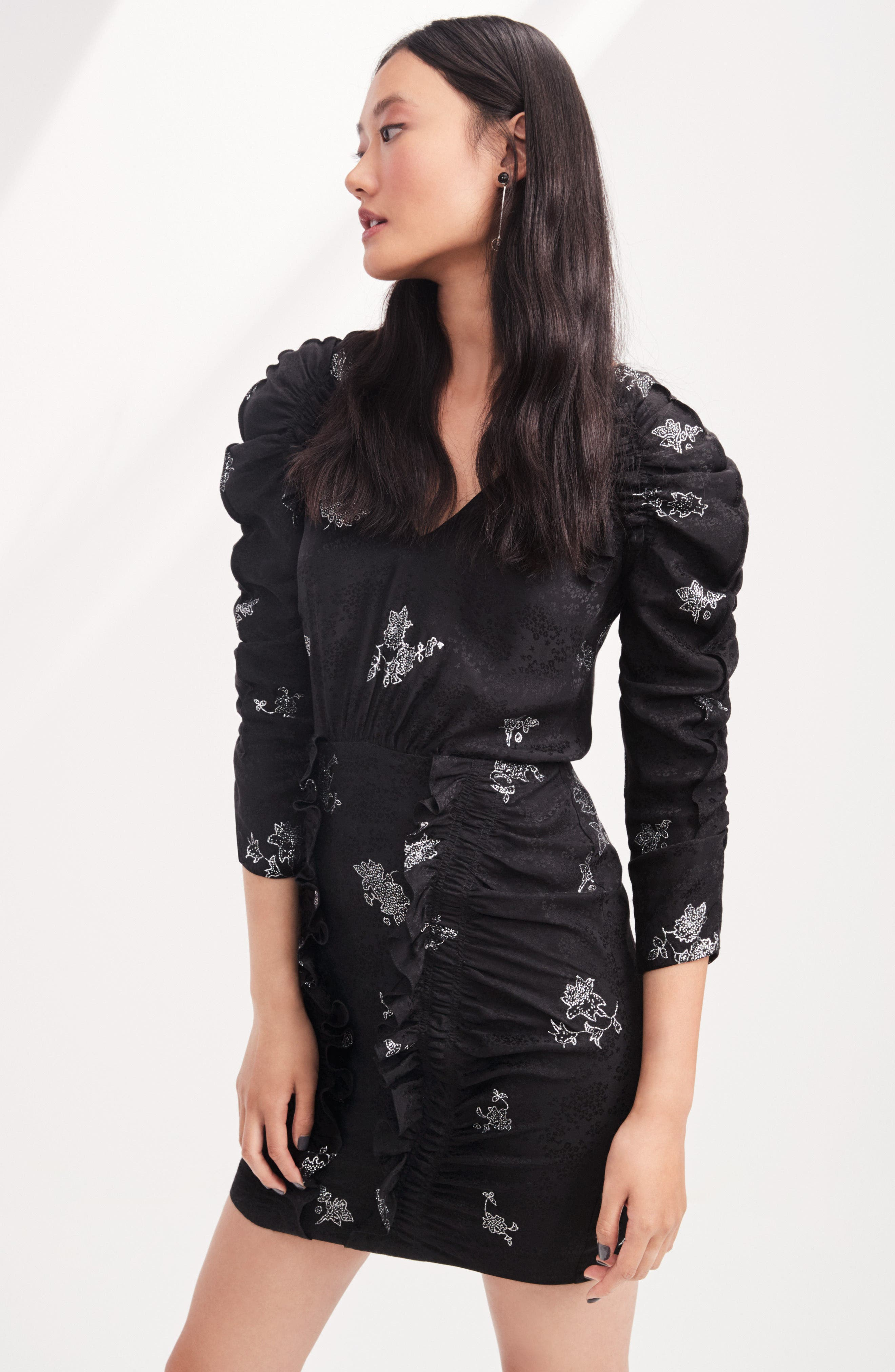 Glitter Jacquard Silk Dress,                             Alternate thumbnail 7, color,                             010