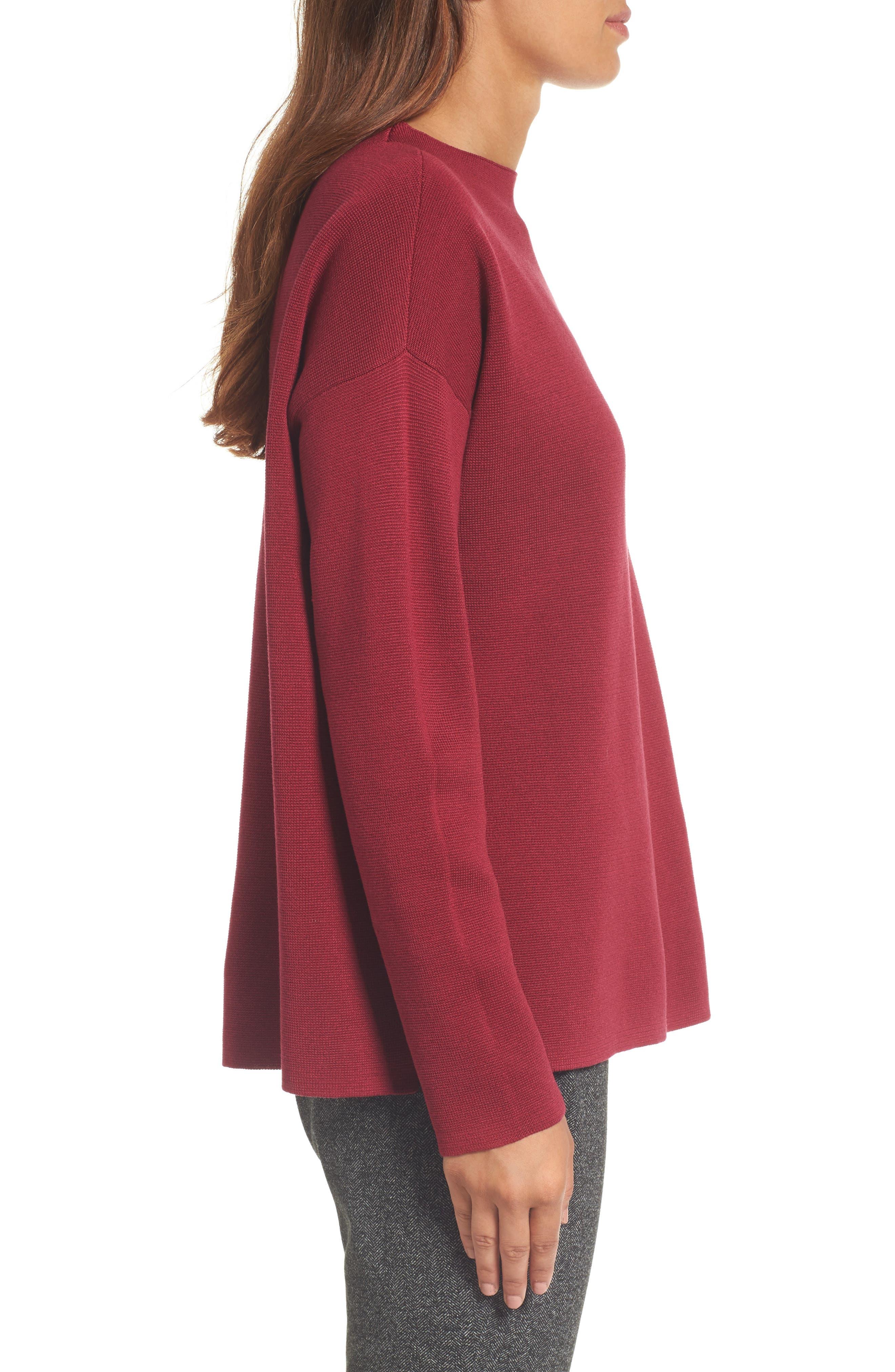 Mock Neck Box Silk & Organic Cotton Sweater,                             Alternate thumbnail 3, color,                             635