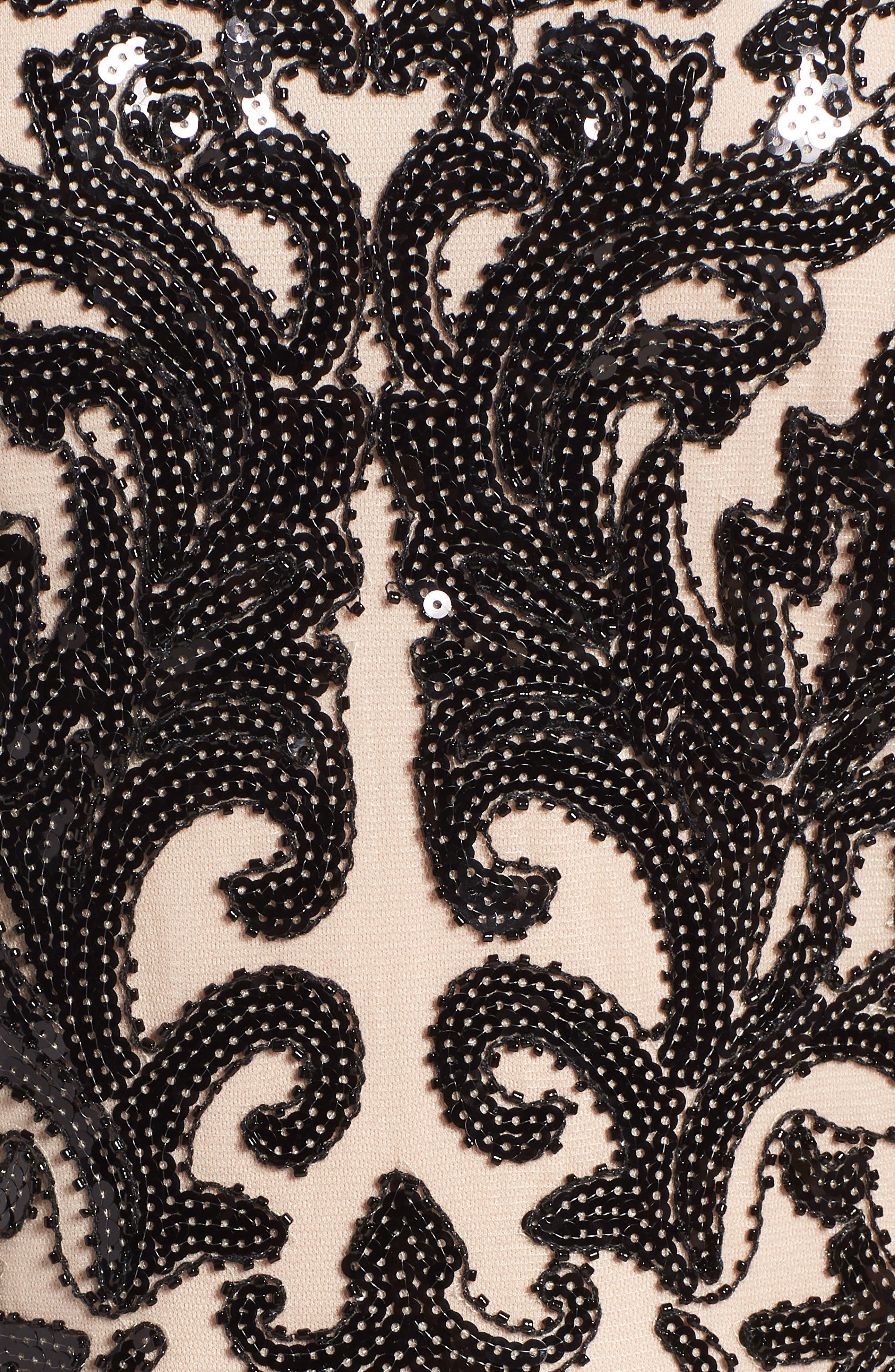 Sequin Embellished Dress,                             Alternate thumbnail 6, color,                             BLACK