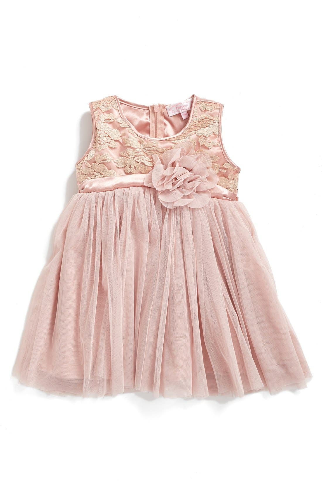Empire Waist Tulle Dress,                             Main thumbnail 1, color,                             DUSTY PINK