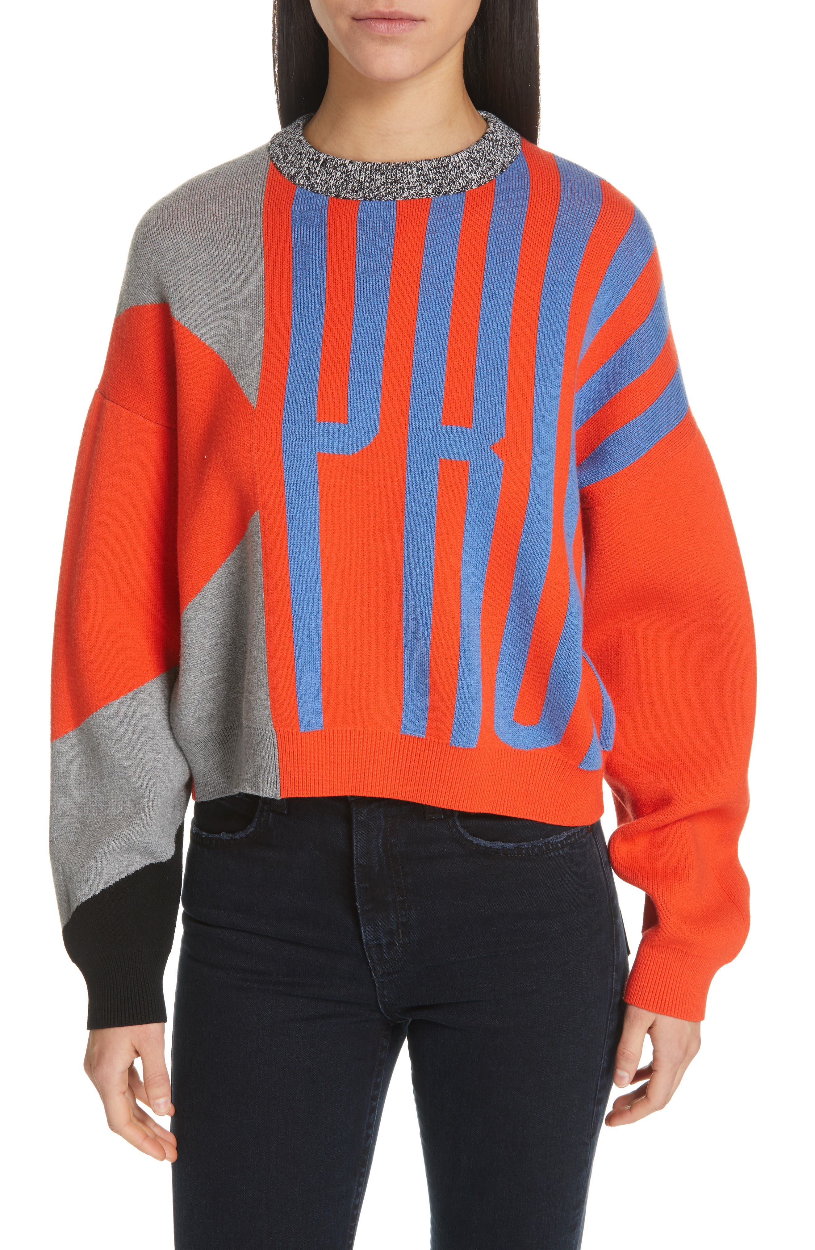 PSWL Graphic Logo Sweater,                             Main thumbnail 1, color,                             BRIGHT RED COMBO