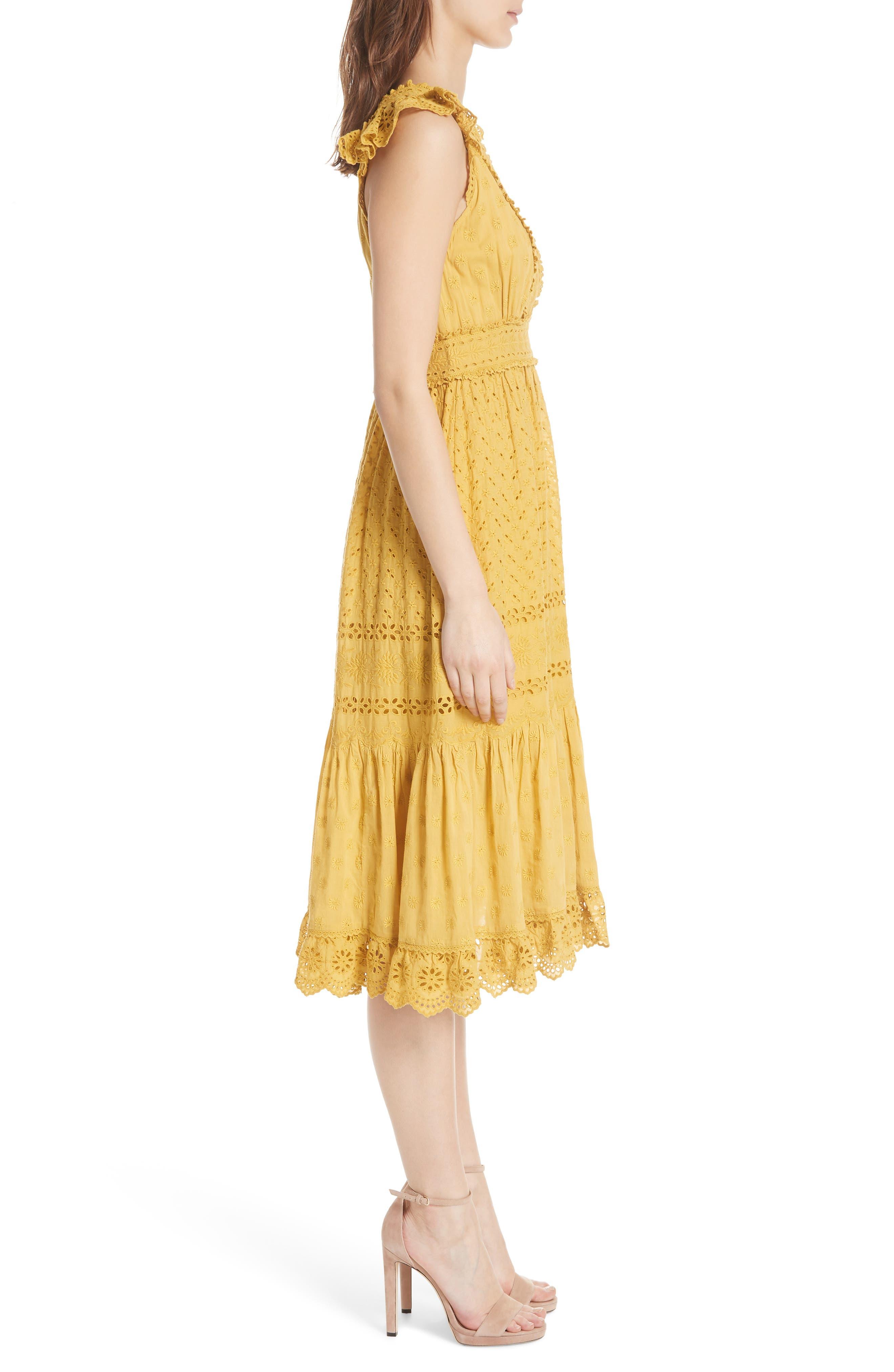 Marjorie Eyelet Dress,                             Alternate thumbnail 3, color,                             700