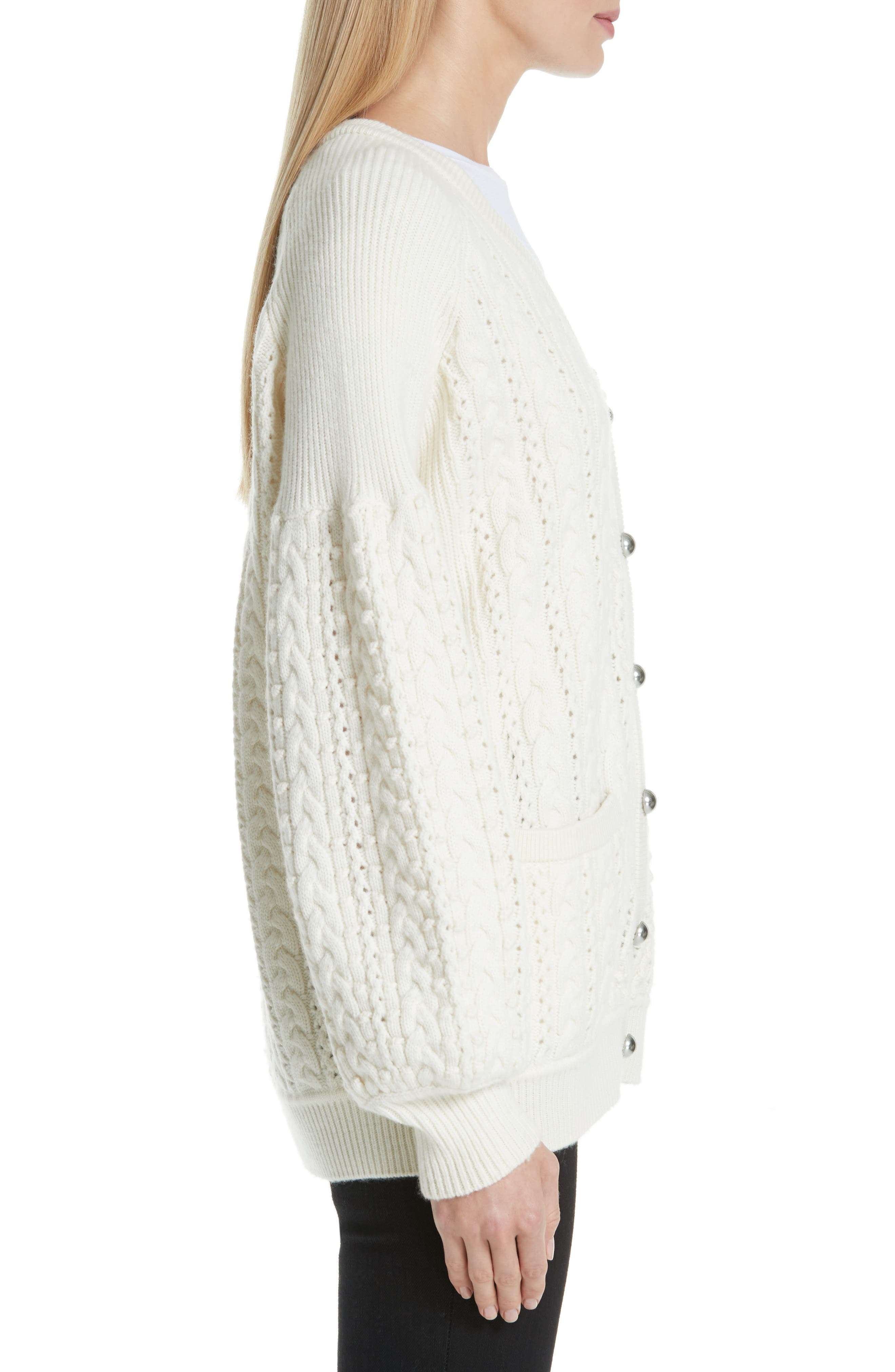 Cable Knit Wool & Cashmere Cardigan,                             Alternate thumbnail 3, color,                             IVORY